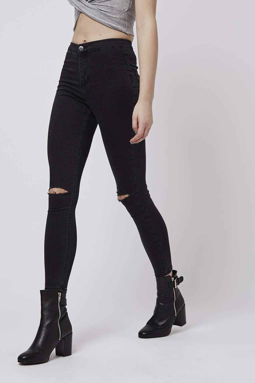 topshop petite moto busted joni jeans in black washed. Black Bedroom Furniture Sets. Home Design Ideas