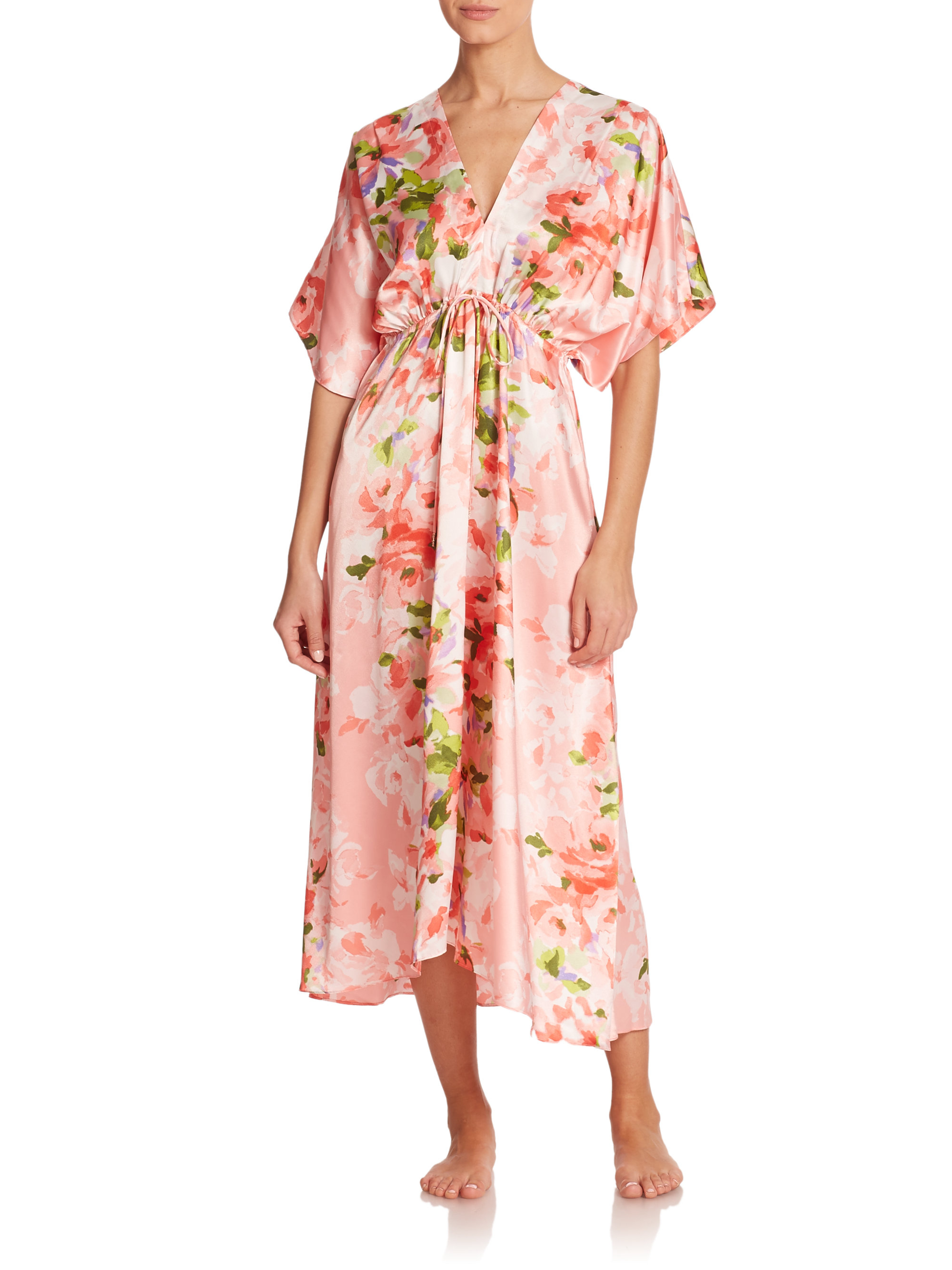 Oscar de la renta garden party floral satin caftan lyst for Caftan avec satin de chaise