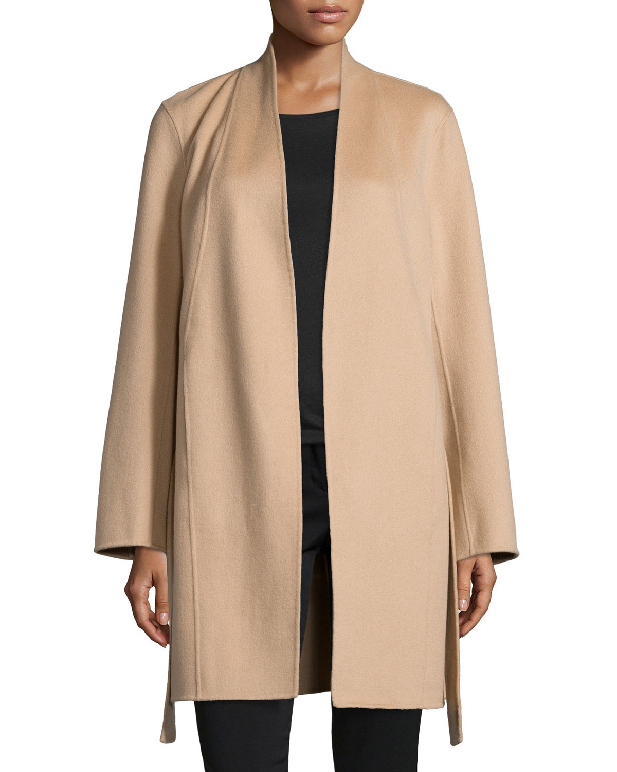 Neiman marcus Double-face Woven Cashmere Coat in Natural | Lyst
