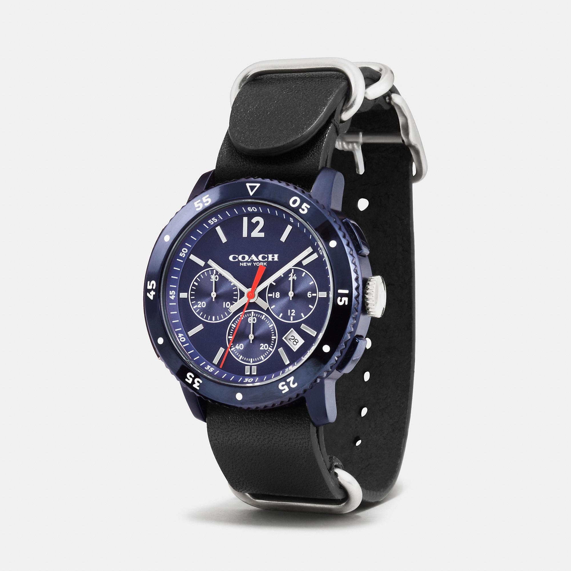 b179eebcb5 COACH Black Bleecker Sport Ionized Plating Leather Strap Watch for men