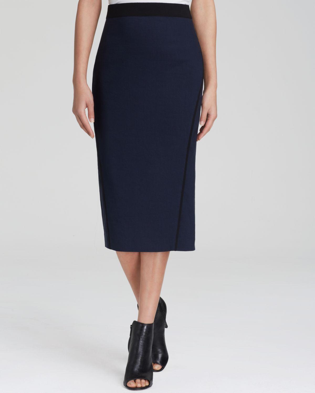 elie tahari maureen midi pencil skirt in blue lyst