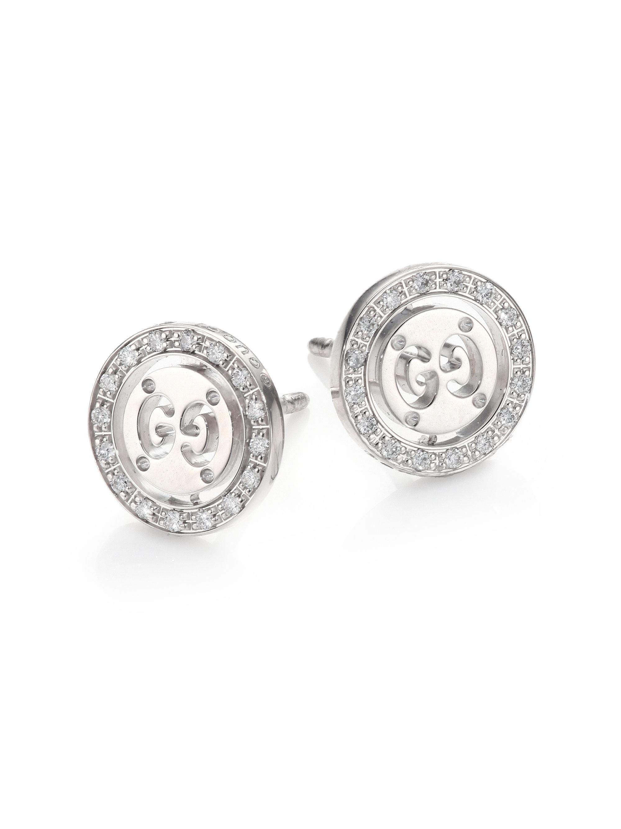 Icon Twirl Diamond 18k White Gold Stud Earrings