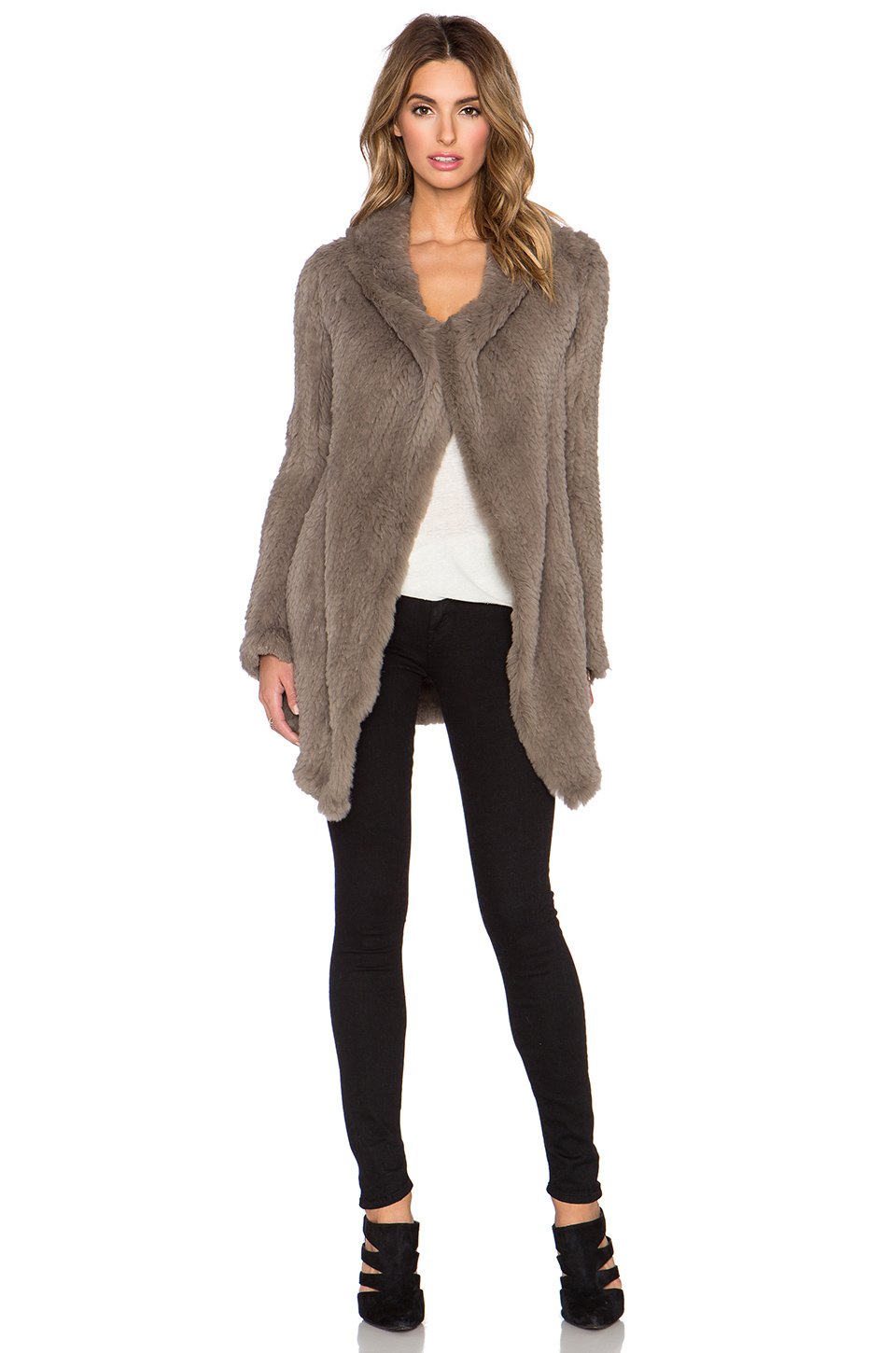 June Oversized Rabbit Fur Coat In Gray Lyst