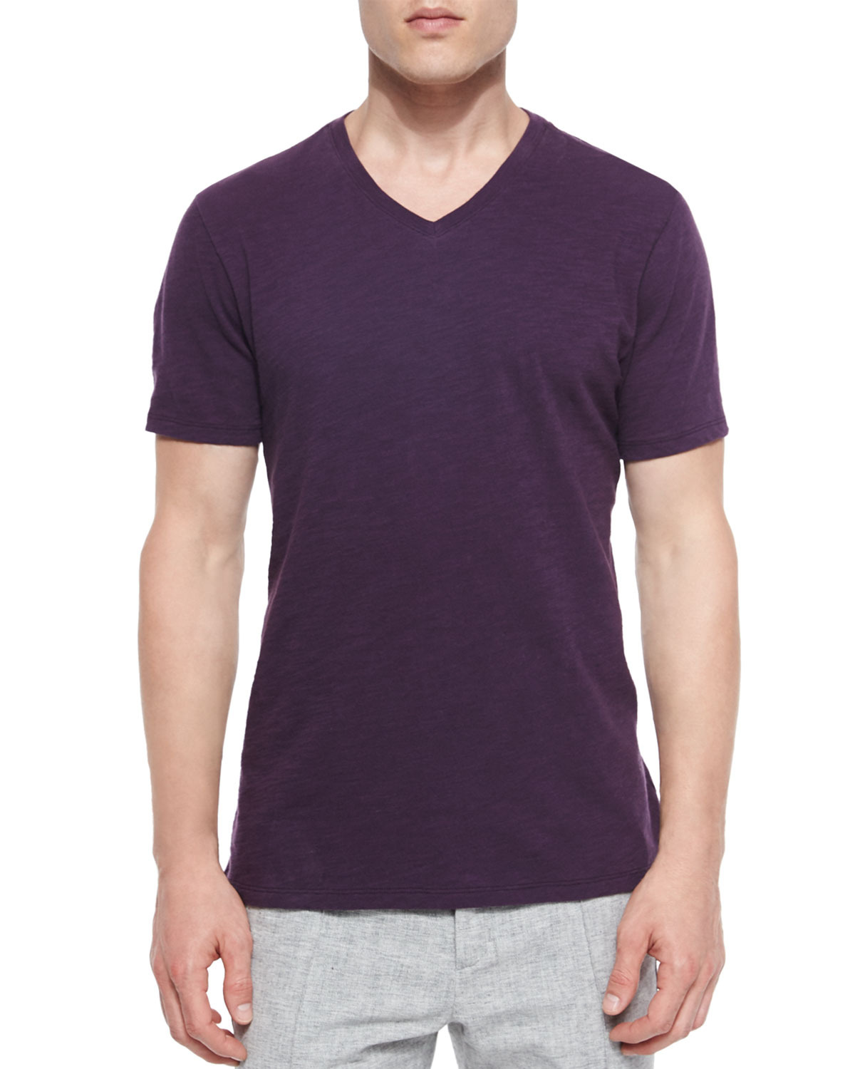Vince v neck t shirt in purple for men lyst for Vince tee shirts sale