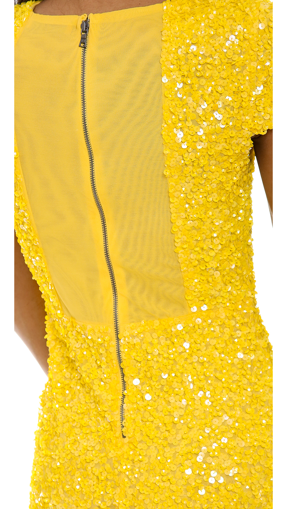 Alice Olivia Taryn Sequin Cap Sleeve Dress In Yellow Lyst