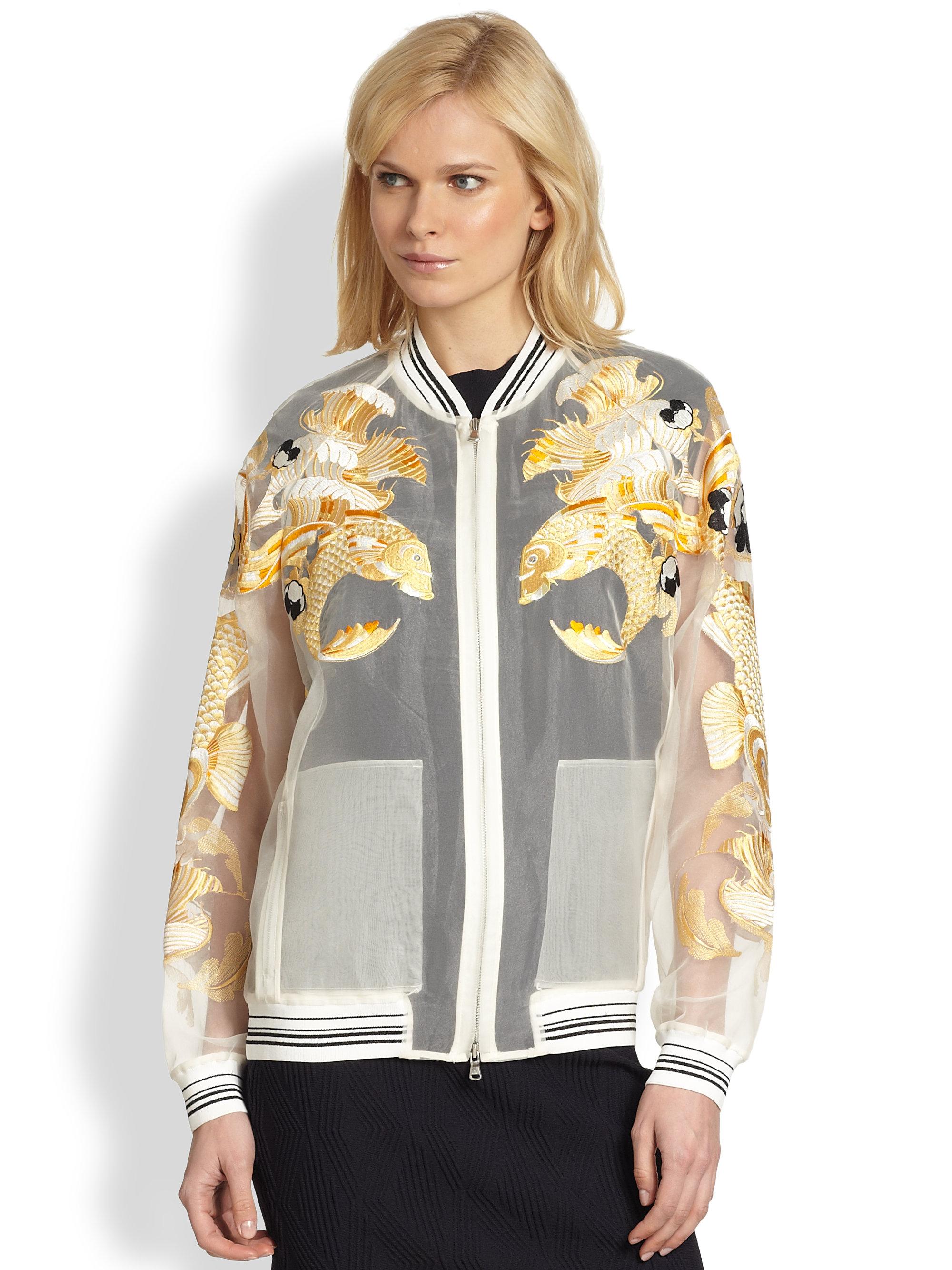 b648dd3b5 3.1 Phillip Lim Natural Fish Embroidered Sheer Organza Bomber Jacket