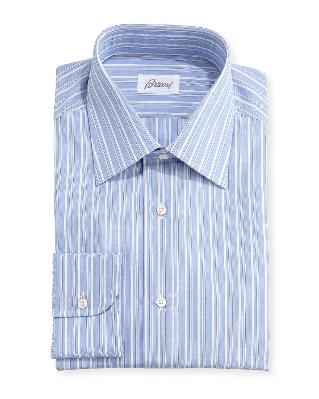 Brioni Blue Striped Shirt in Blue for Men
