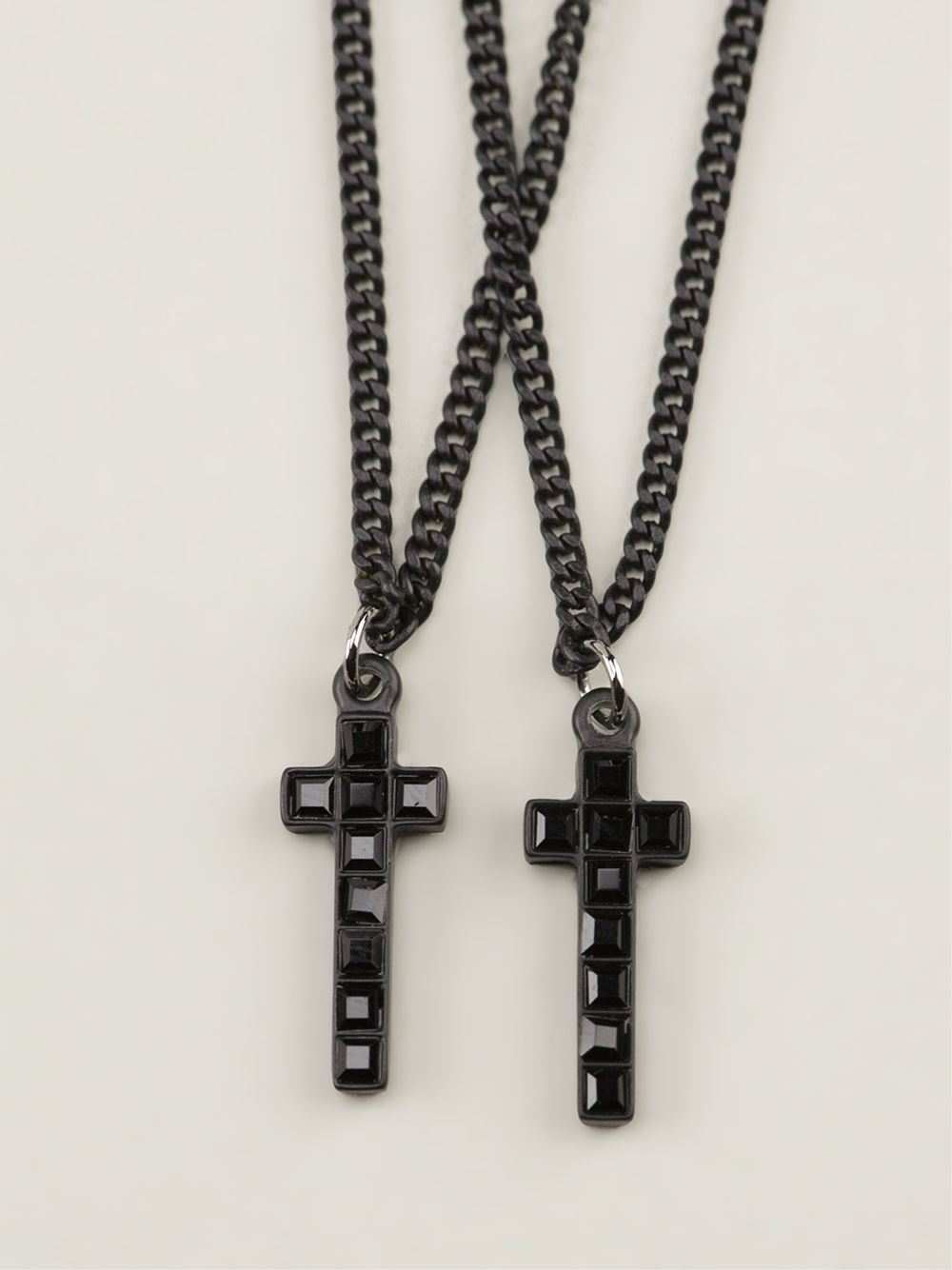 Lyst - Dsquared² Double Cross Necklace in Black for Men