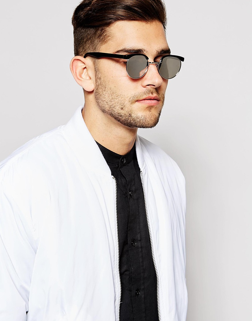9cbc981286e8 Lyst - ASOS Round Retro Sunglasses With Mirrored Lens In Black in ...