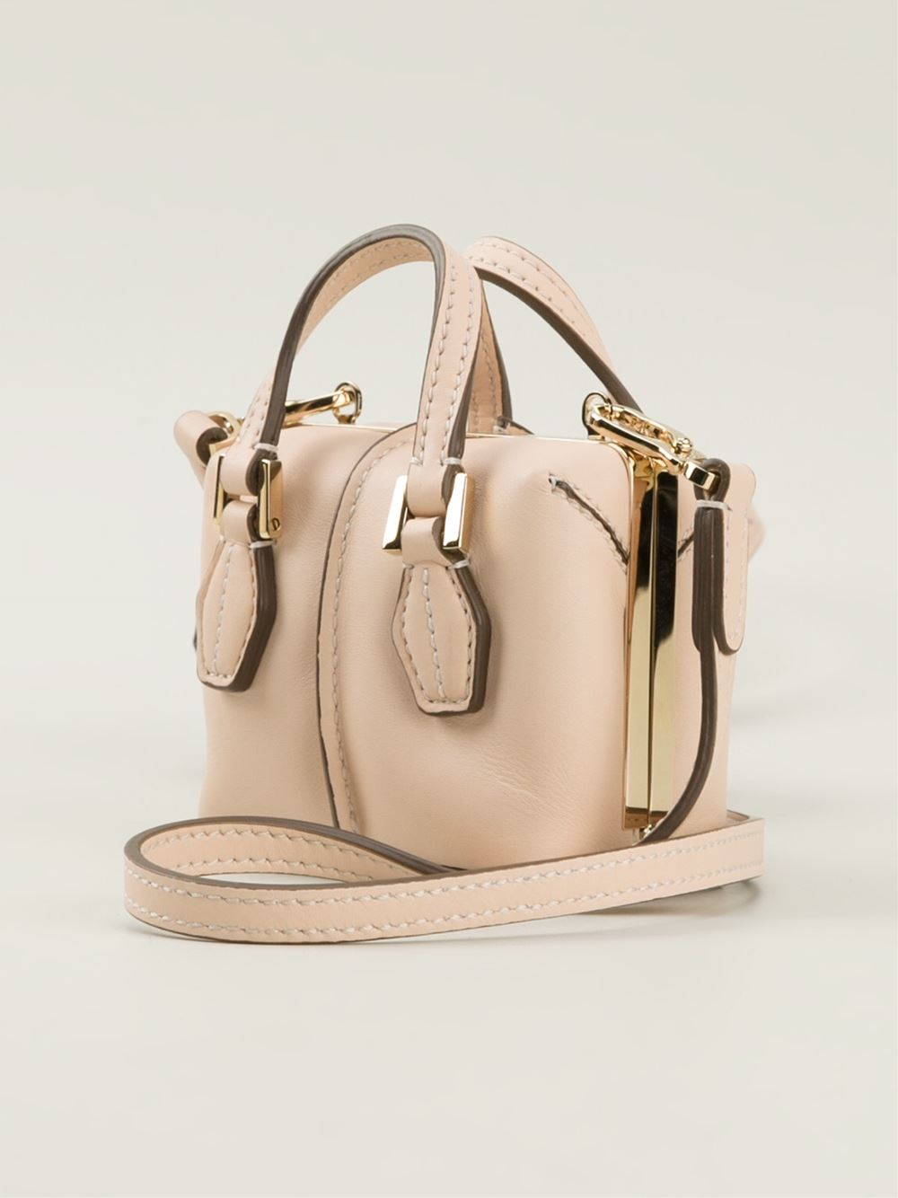 Tod's Mini Dcube Bowler Cross Body Bag in Pink & Purple (Natural)