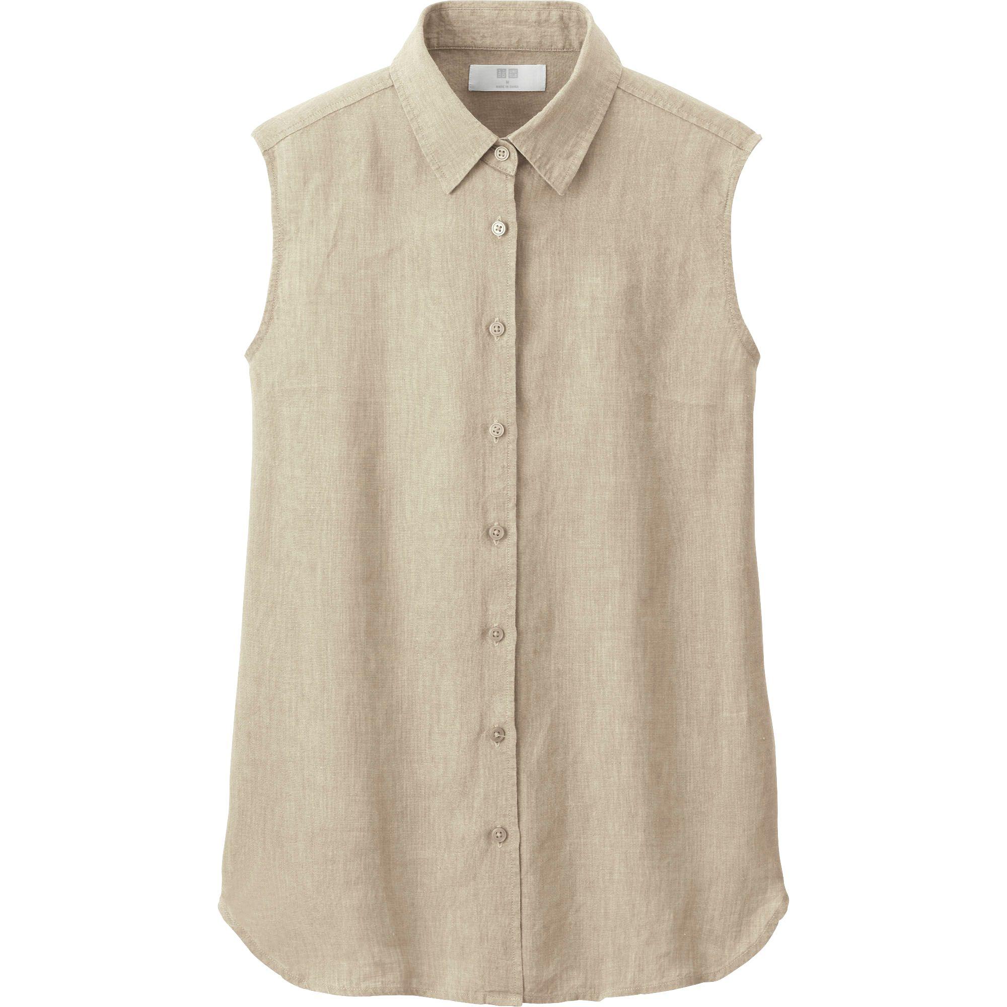 Uniqlo Premium Linen Sleeveless Shirt In Beige Lyst