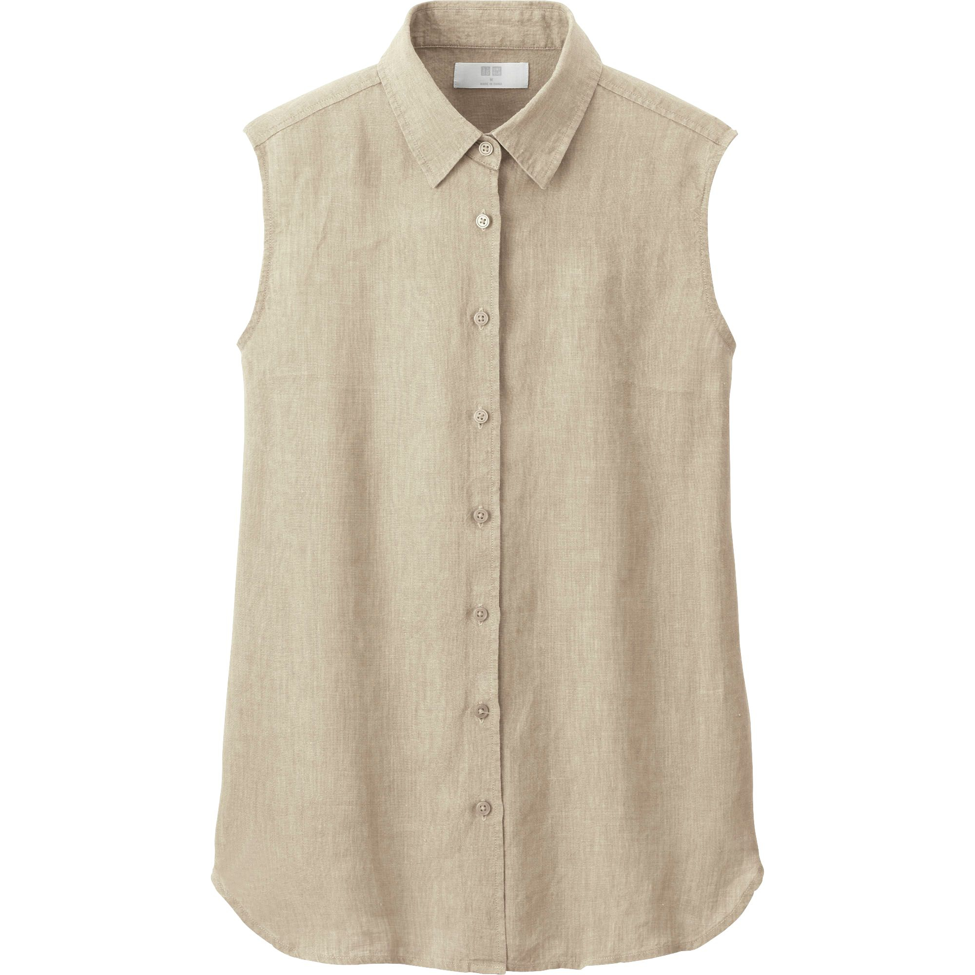 Uniqlo premium linen sleeveless shirt in beige lyst for Uniqlo premium t shirt