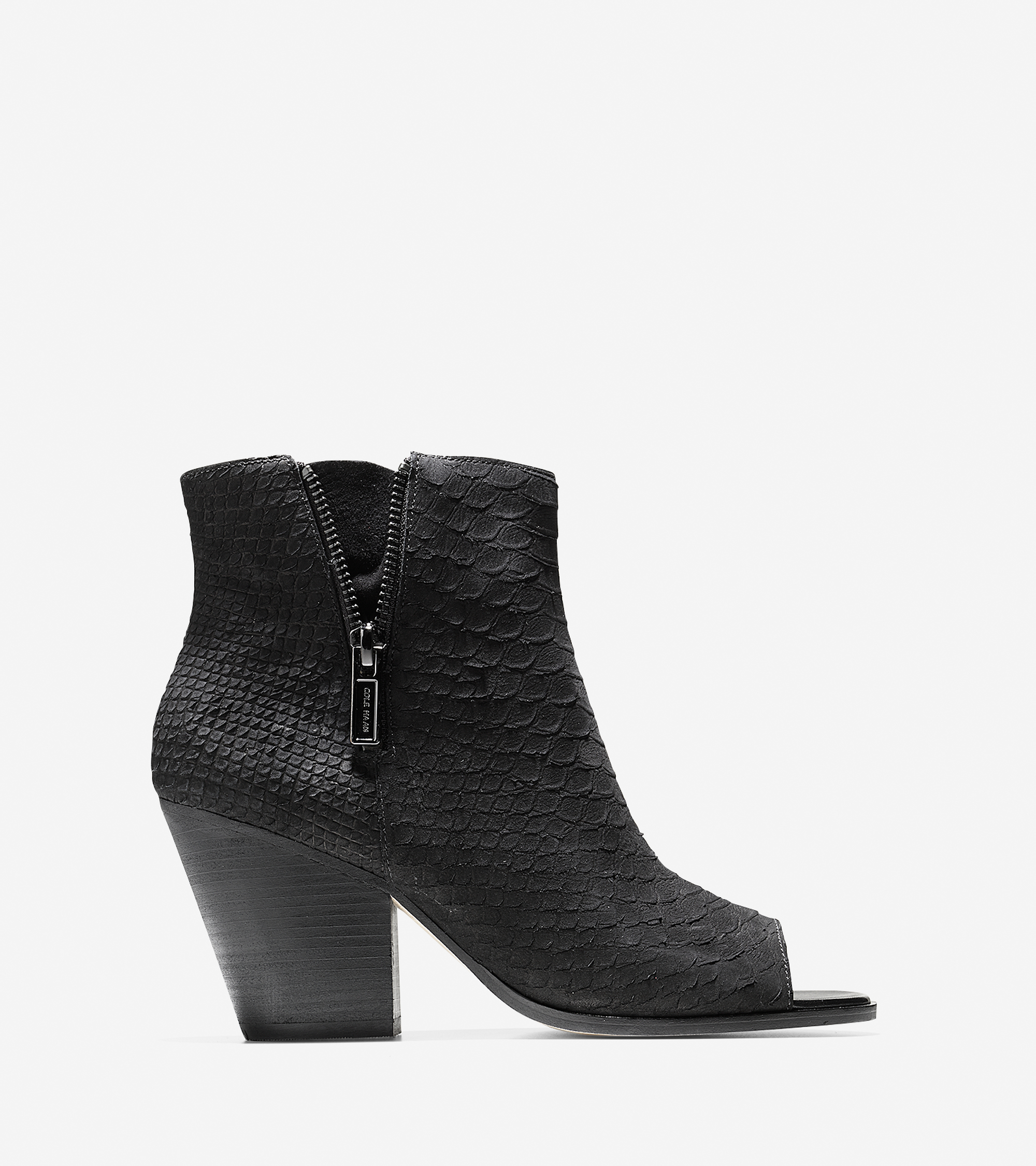 cole haan lundy open toe bootie 75mm in black lyst. Black Bedroom Furniture Sets. Home Design Ideas
