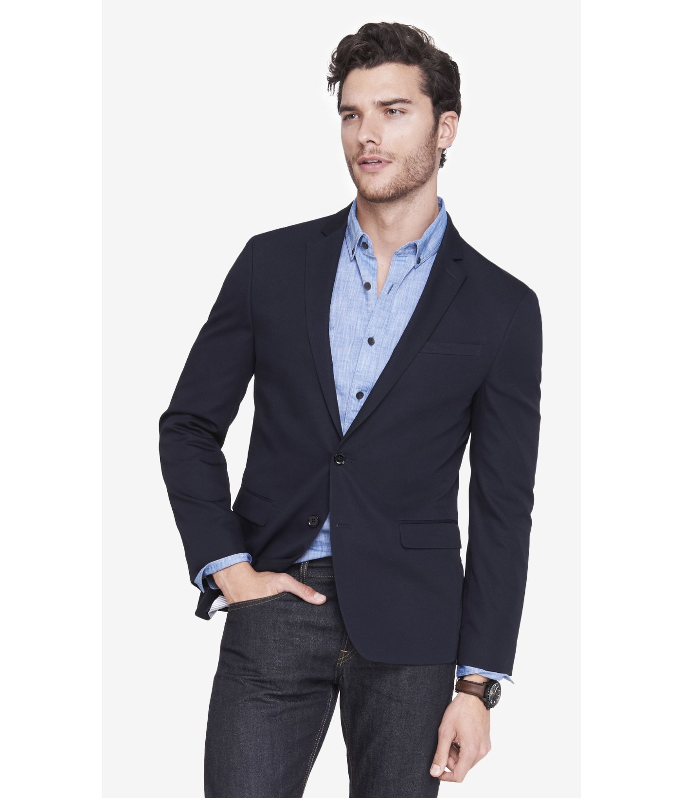 While blazers come in various colors, the most traditional and versatile of this already flexible garment is navy blue. Sharp and masculine, a navy blazer looks great and goes with just about everything.