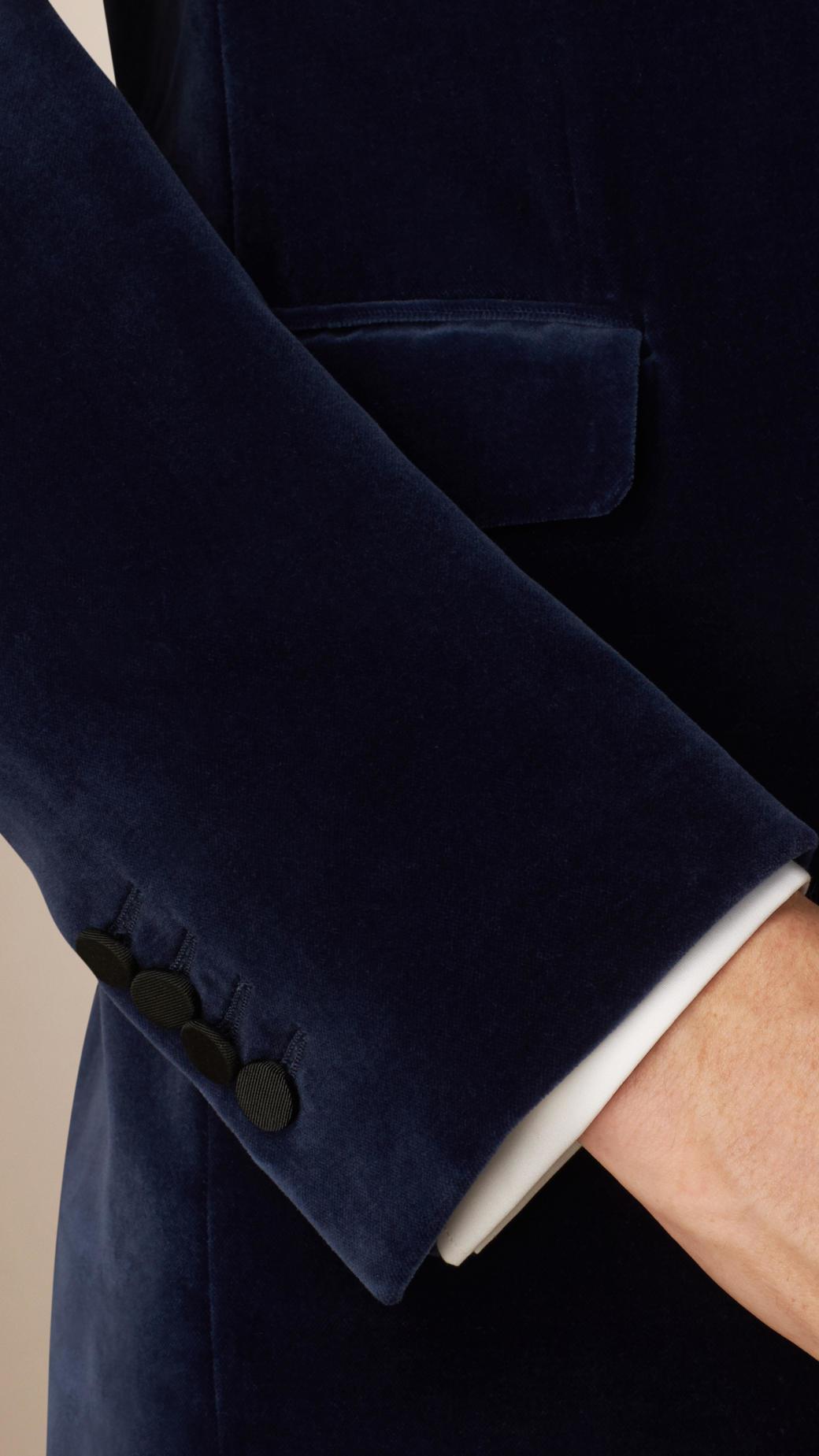 Burberry Slim Fit Velvet Half-canvas Tuxedo Jacket in Steel Blue (Blue) for Men