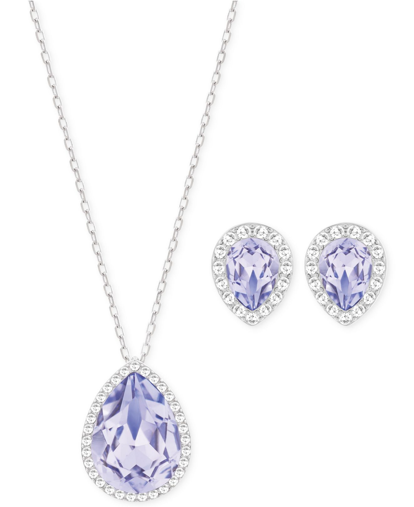 Silver Tone Lavender Crystal Necklace And Stud Earrings Set