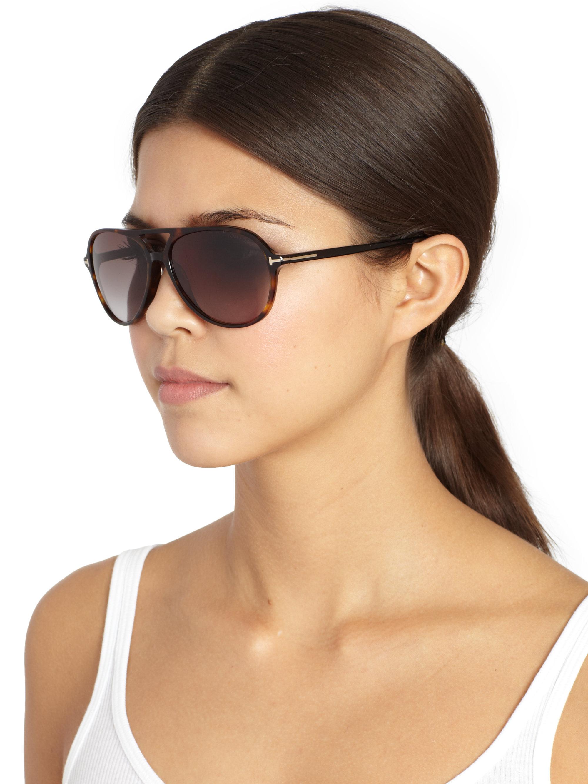 Tom Ford Havana Sunglasses  tom ford jared plastic aviator sunglasses in black lyst