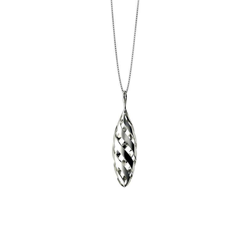 Azendi Sterling Silver Gherkin Twist Pendant in Metallic