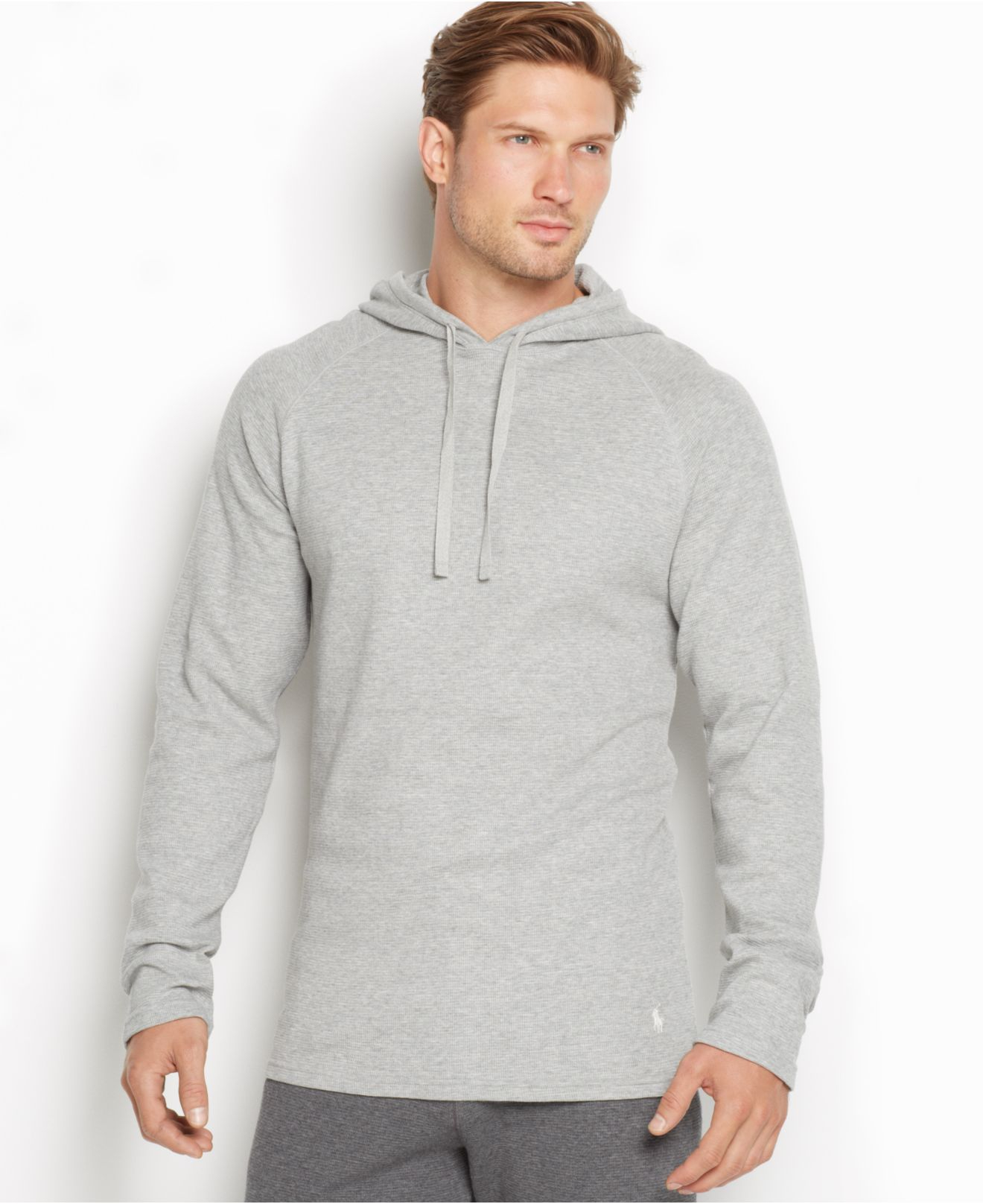 polo ralph lauren men 39 s thermal raglan hoodie in gray for men lyst. Black Bedroom Furniture Sets. Home Design Ideas