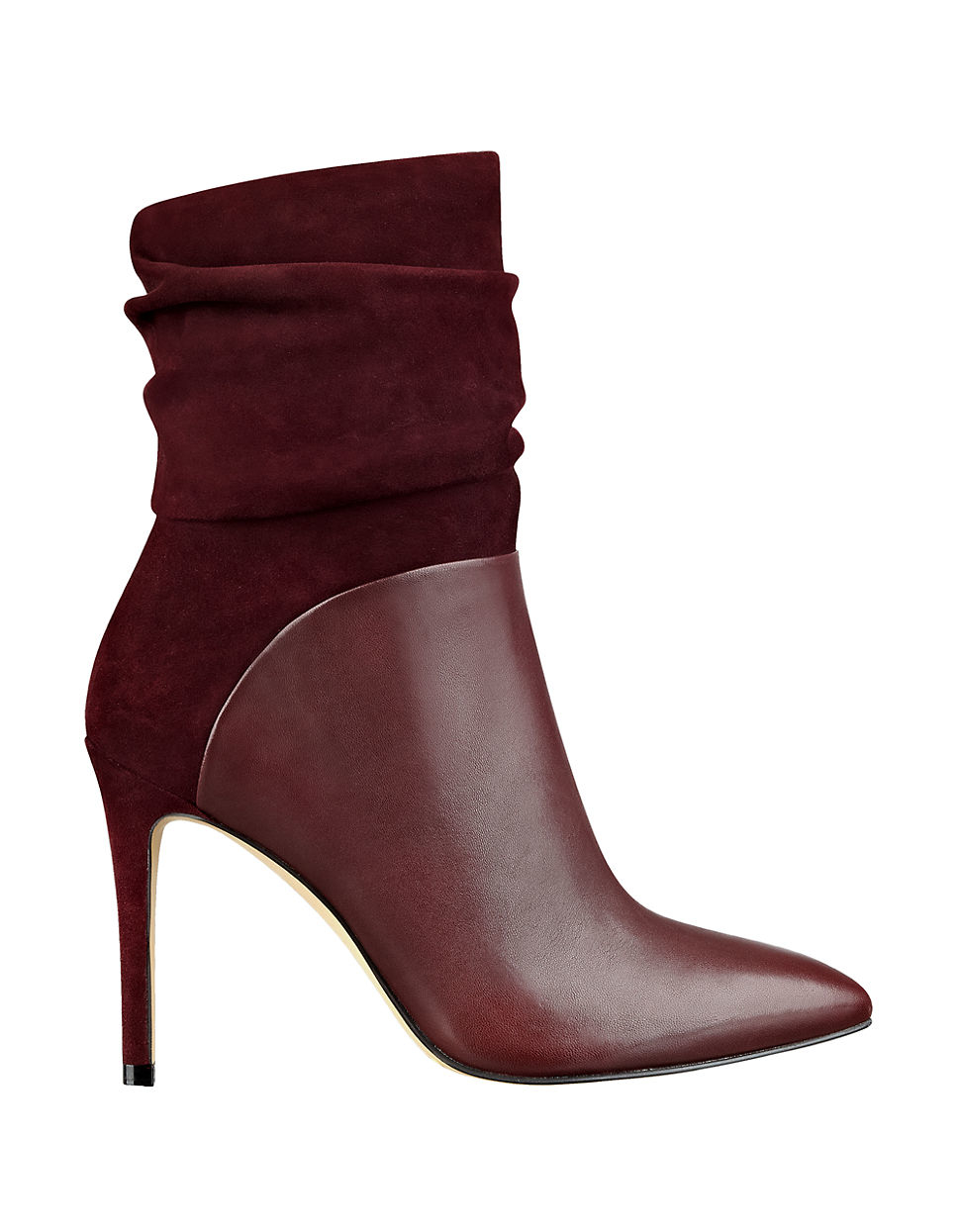 Lyst Guess Leather And Suede Ankle Boots In Purple