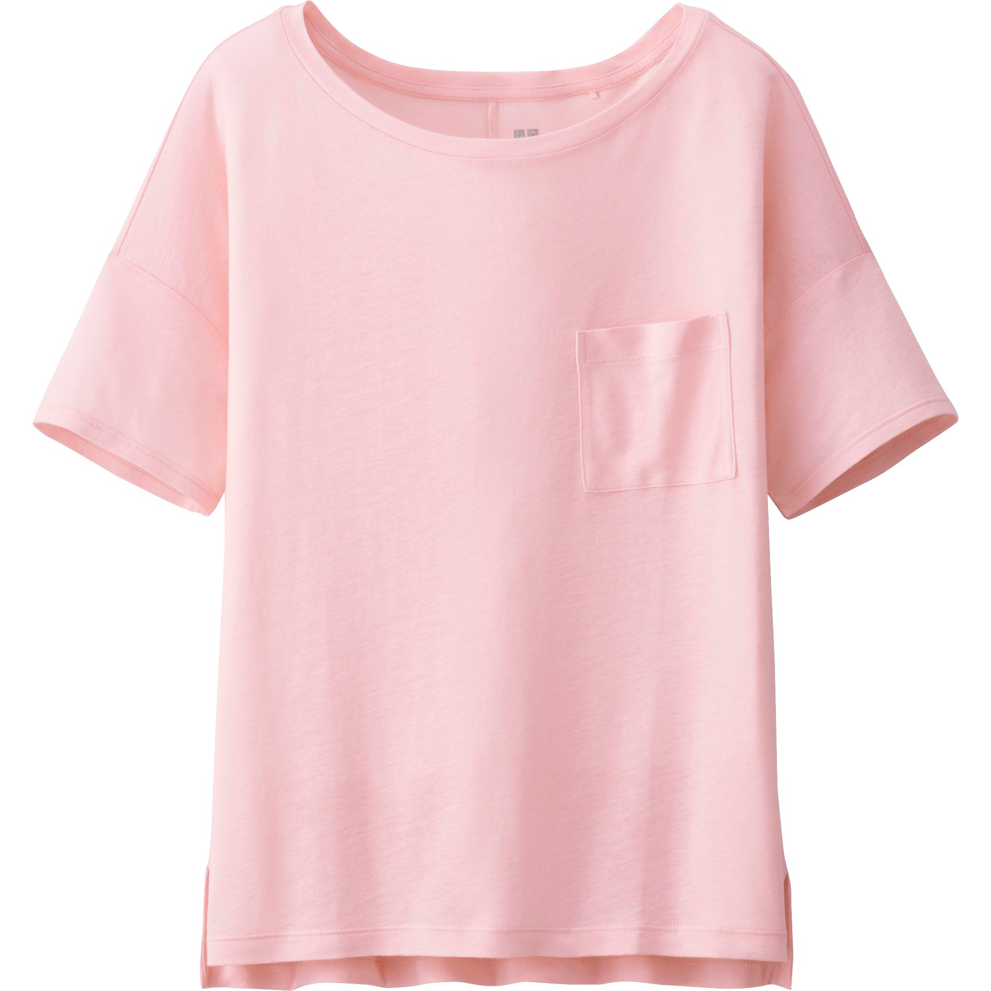 Uniqlo women modal linen short sleeve boxy t shirt in pink for Short sleeve linen shirt
