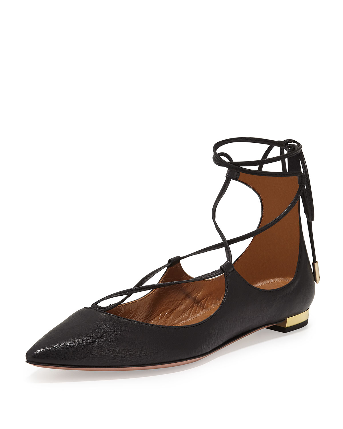 Pointed Flat Shoes Lace Up