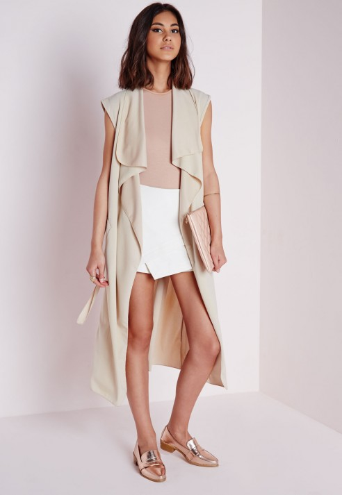 b2fd7348ea4d43 Lyst - Missguided Sleeveless Belted Waterfall Duster Coat Camel in ...