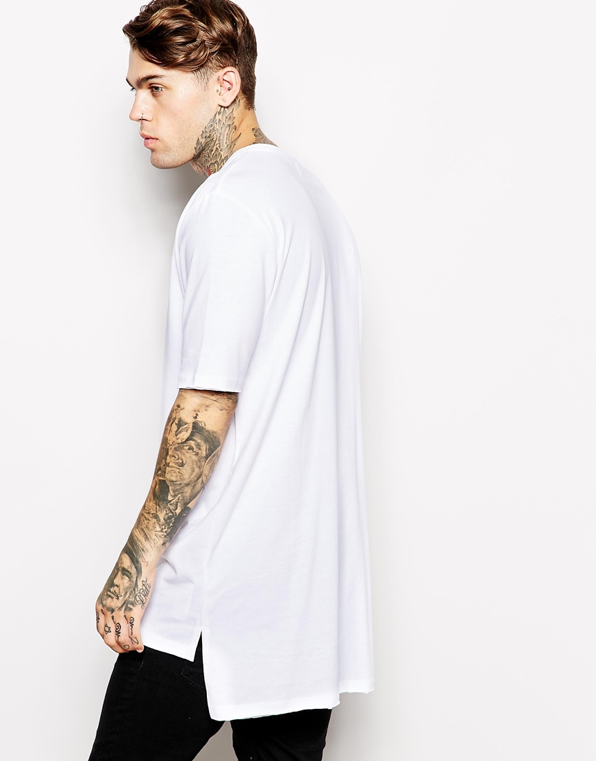 lyst asos super longline t shirt with stepped hem skater fit in white for men. Black Bedroom Furniture Sets. Home Design Ideas