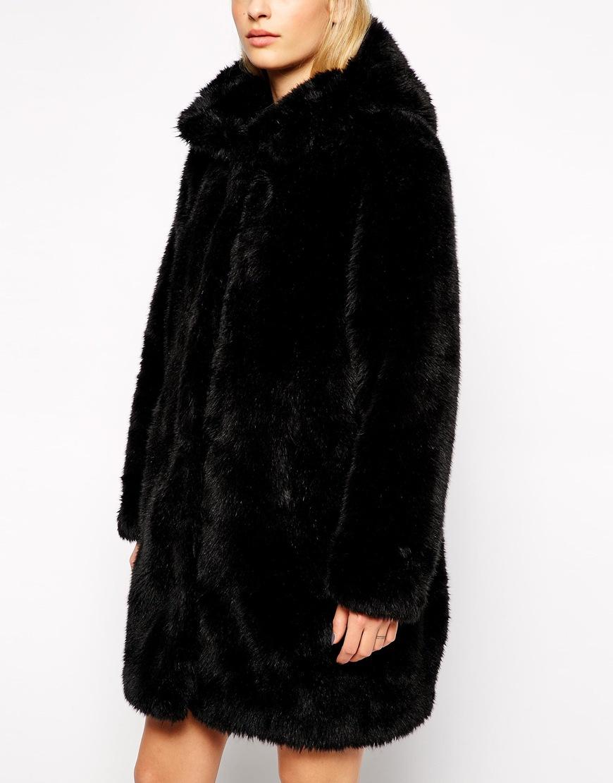 6d4ff25f4f9c Monki Faux Fur Hooded Jacket in Black - Lyst