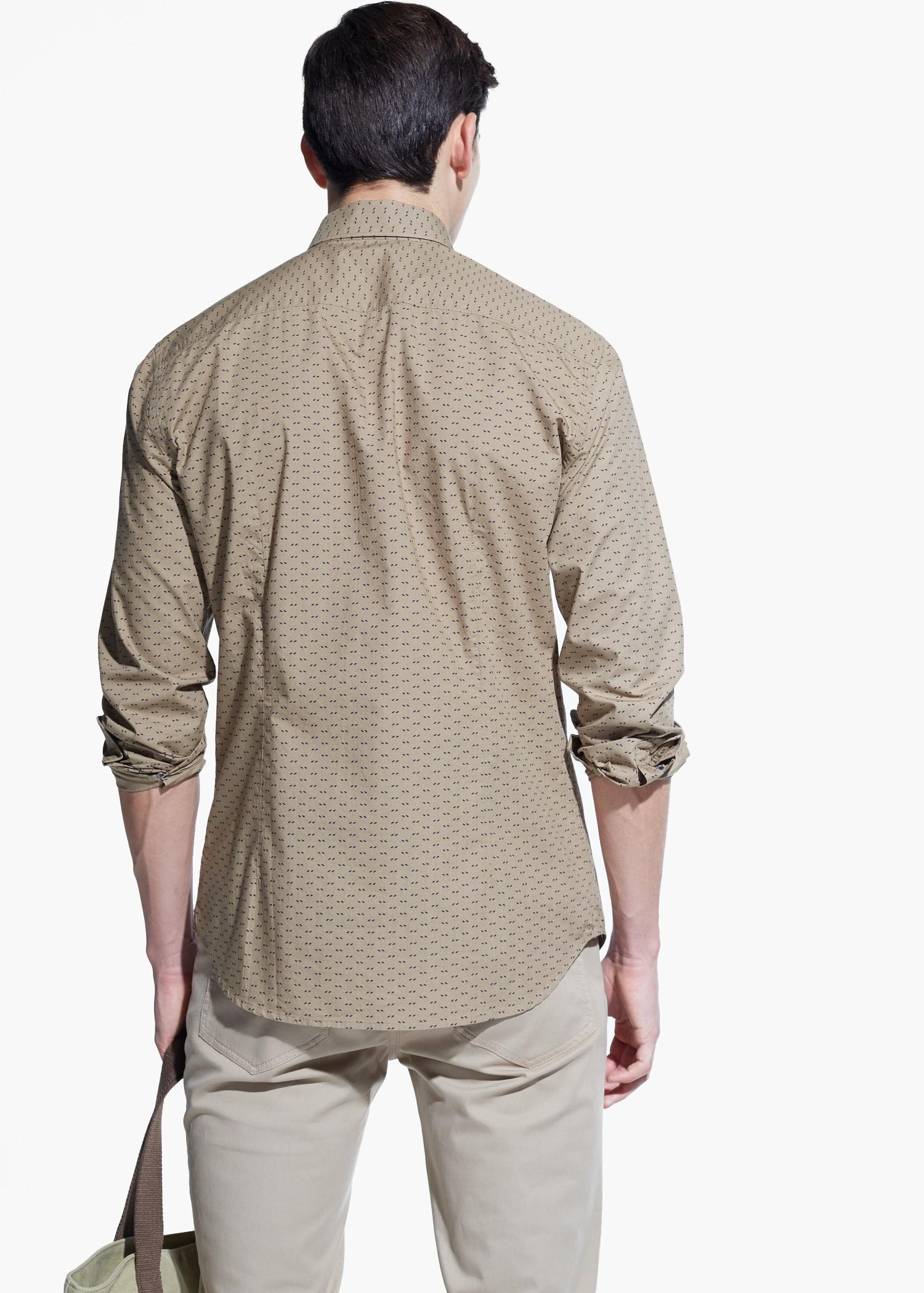Lyst mango slim fit printed cotton shirt in brown for men for Slim fit cotton shirts