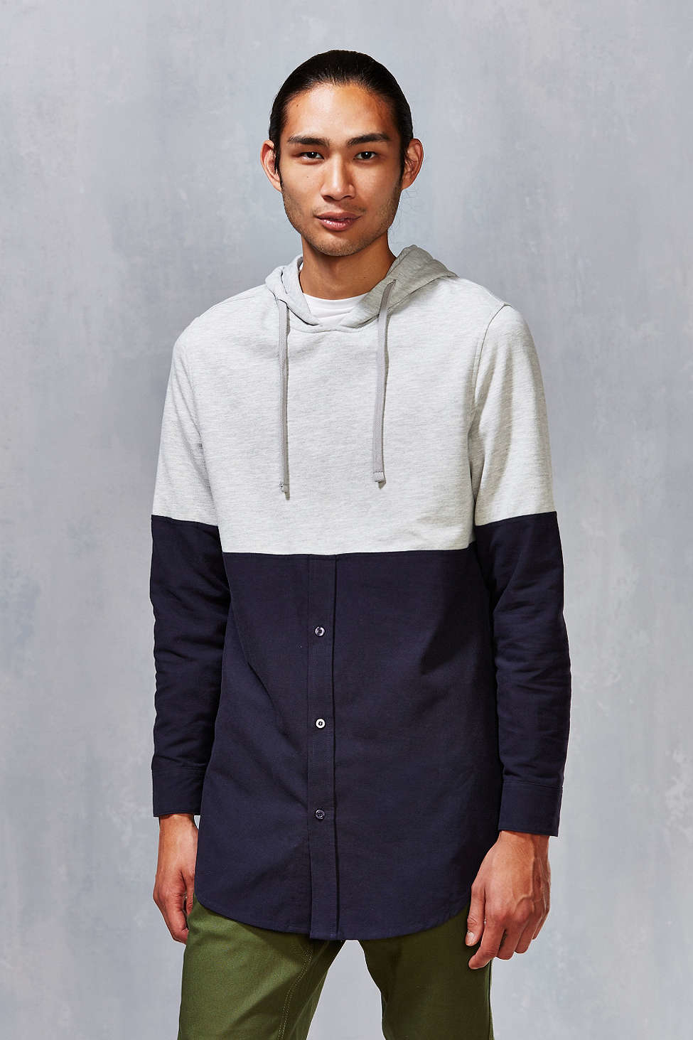 Urban outfitters Hooded Oxford Pullover Shirt in Gray for Men | Lyst