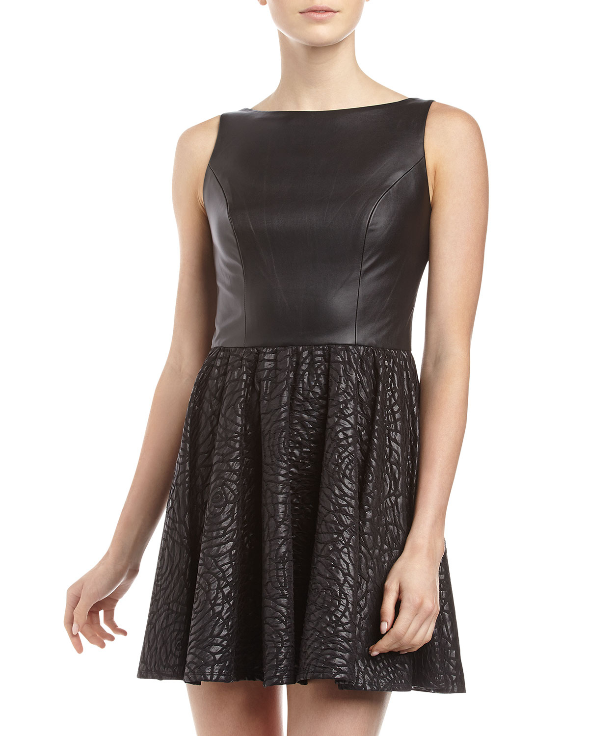 alexia admor faux leather rosette flare skirt dress in