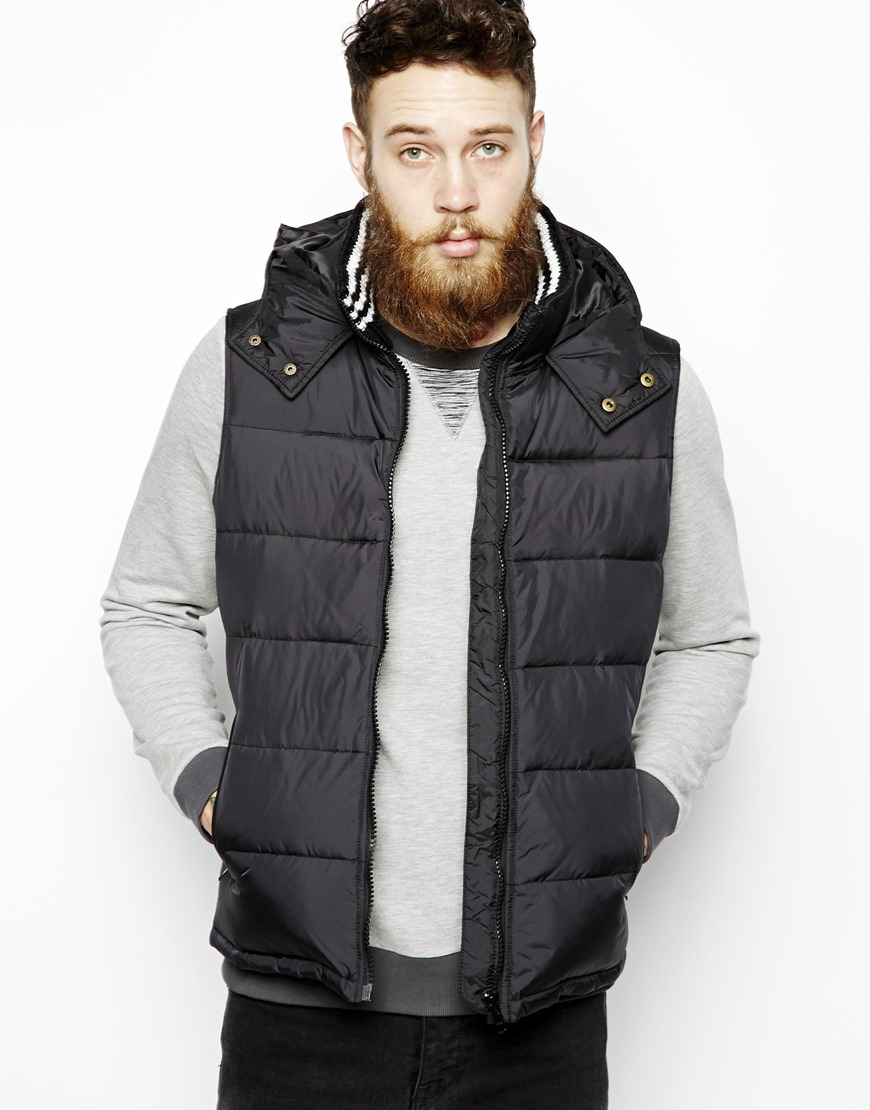 Asos Quilted Gilet With Down Fill In Black For Men Lyst