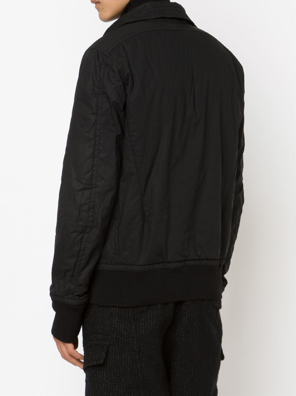 The Viridi-anne Cotton Zipped Bomber Jacket in Black for Men