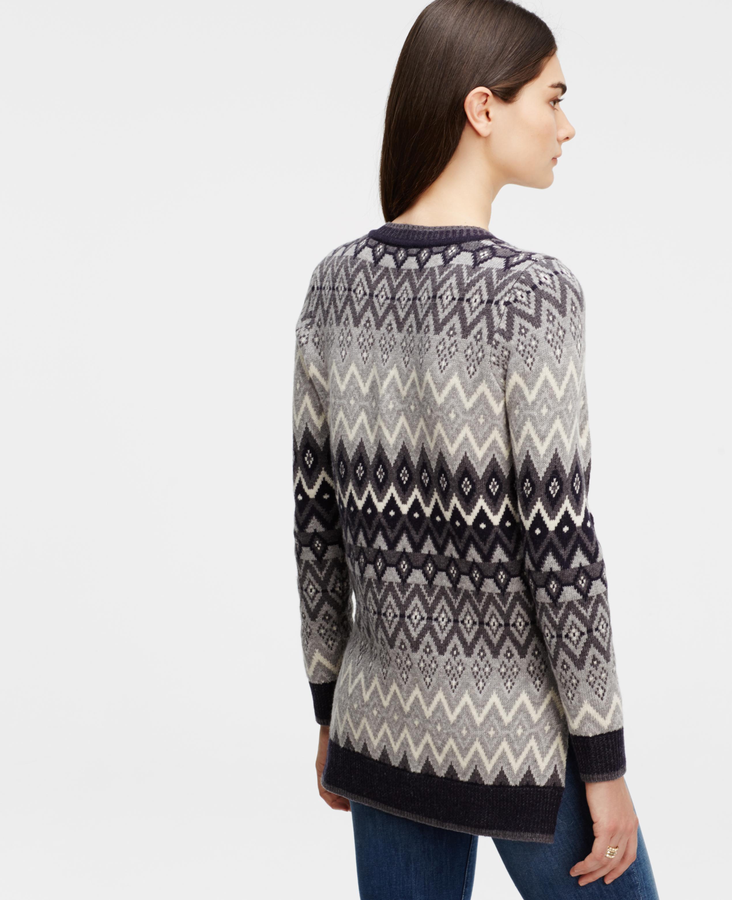 Ann taylor Fairisle Tunic Sweater in Natural | Lyst