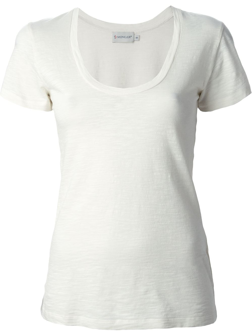 Moncler scoop neck t shirt in white lyst for Off white moncler t shirt