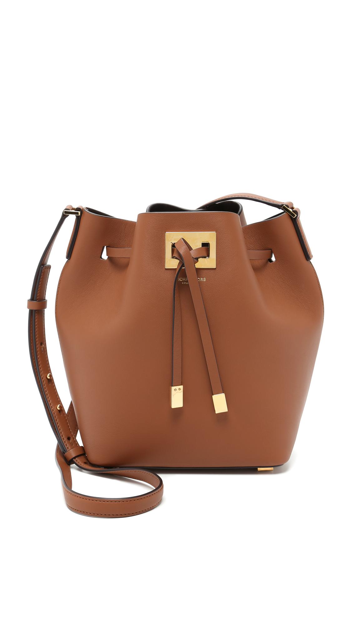 michael kors miranda medium bucket bag in brown lyst. Black Bedroom Furniture Sets. Home Design Ideas