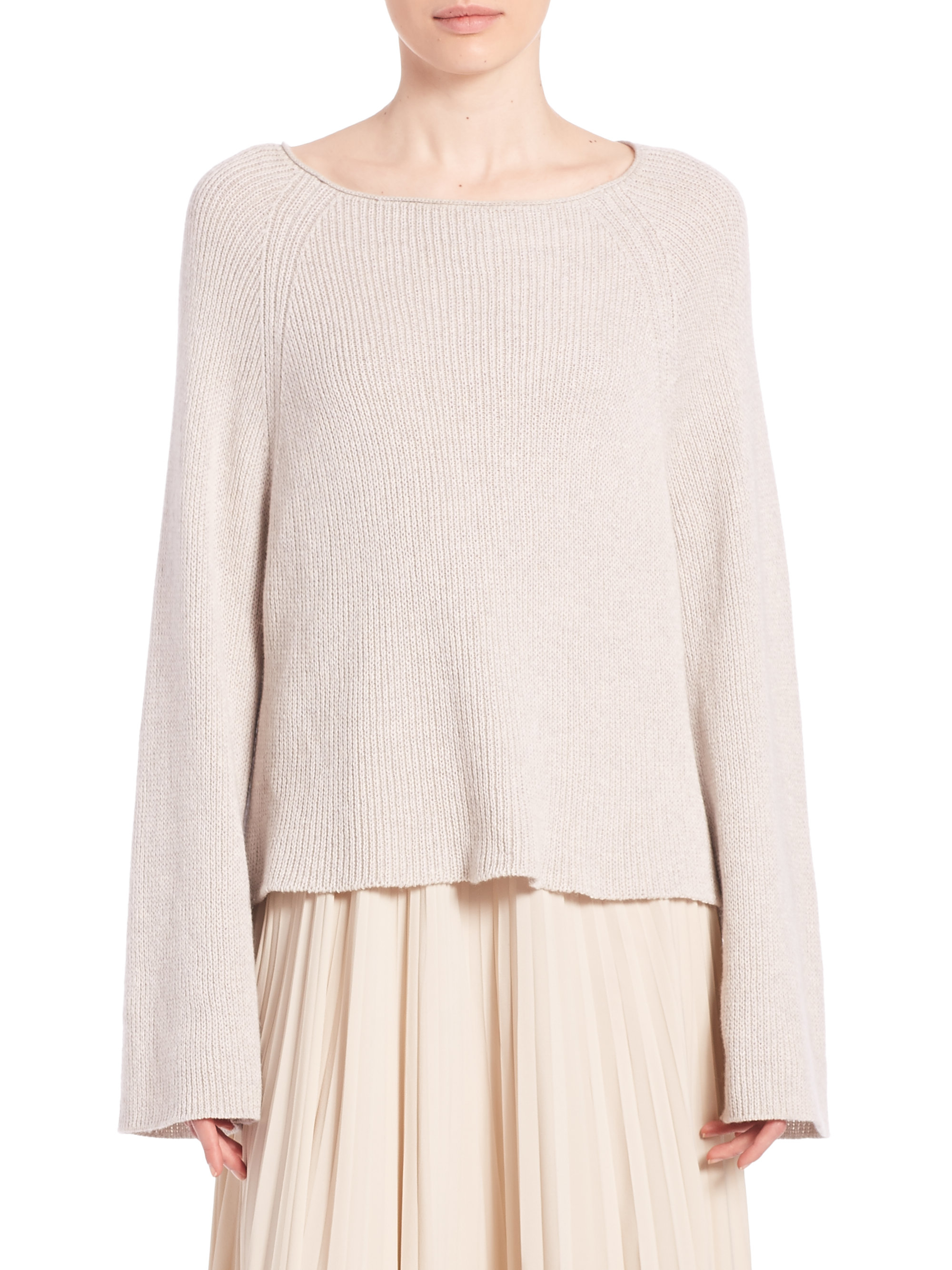 612a316b68c2 Lyst - Helmut Lang Cotton   Cashmere Pullover in Natural