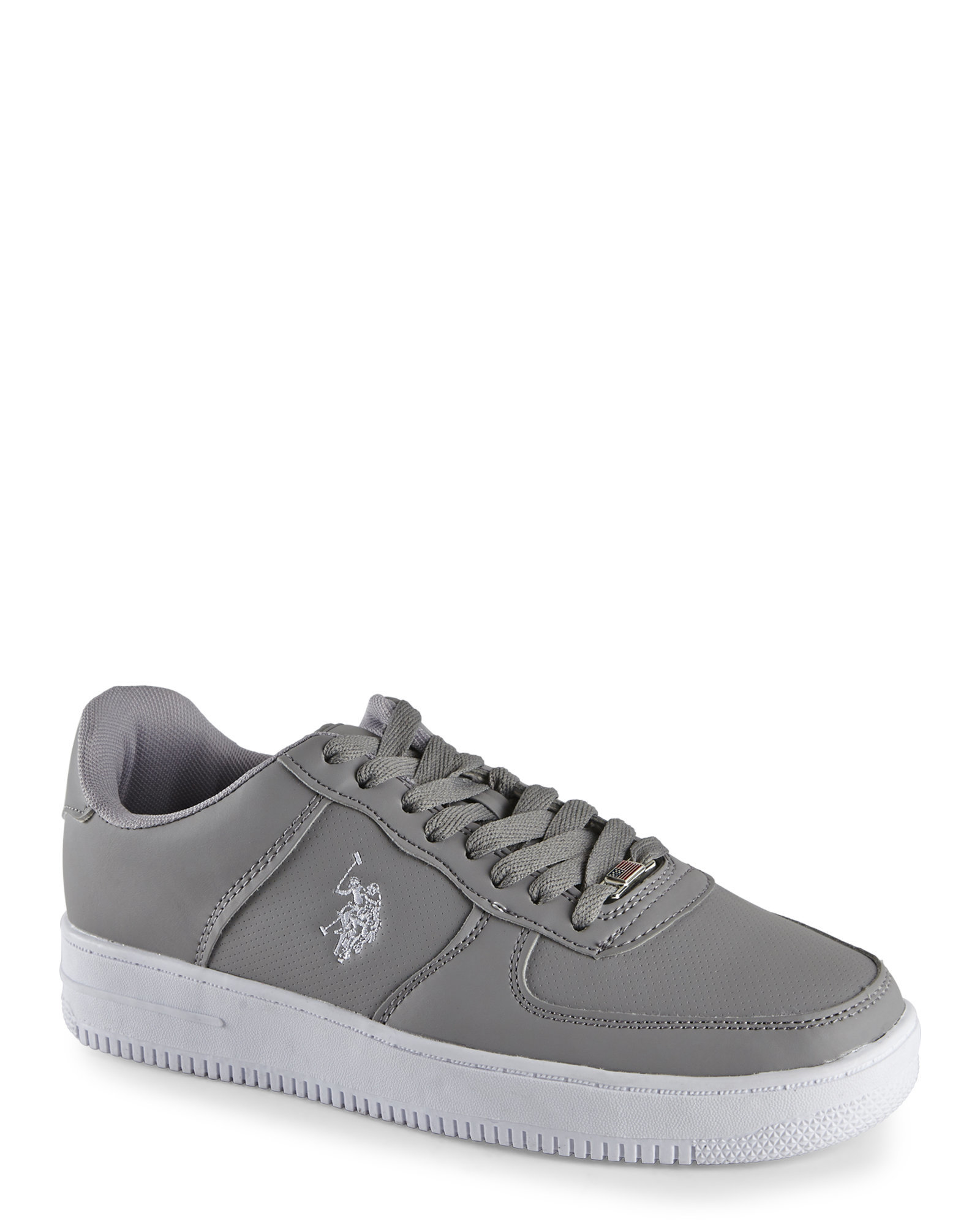 u s polo assn grey white branson 2 perforated sneakers