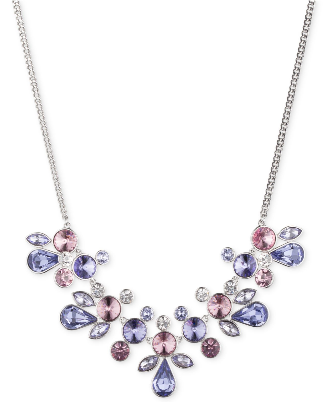 Givenchy Silver Tone Crystal Collar Necklace In Blue Lyst