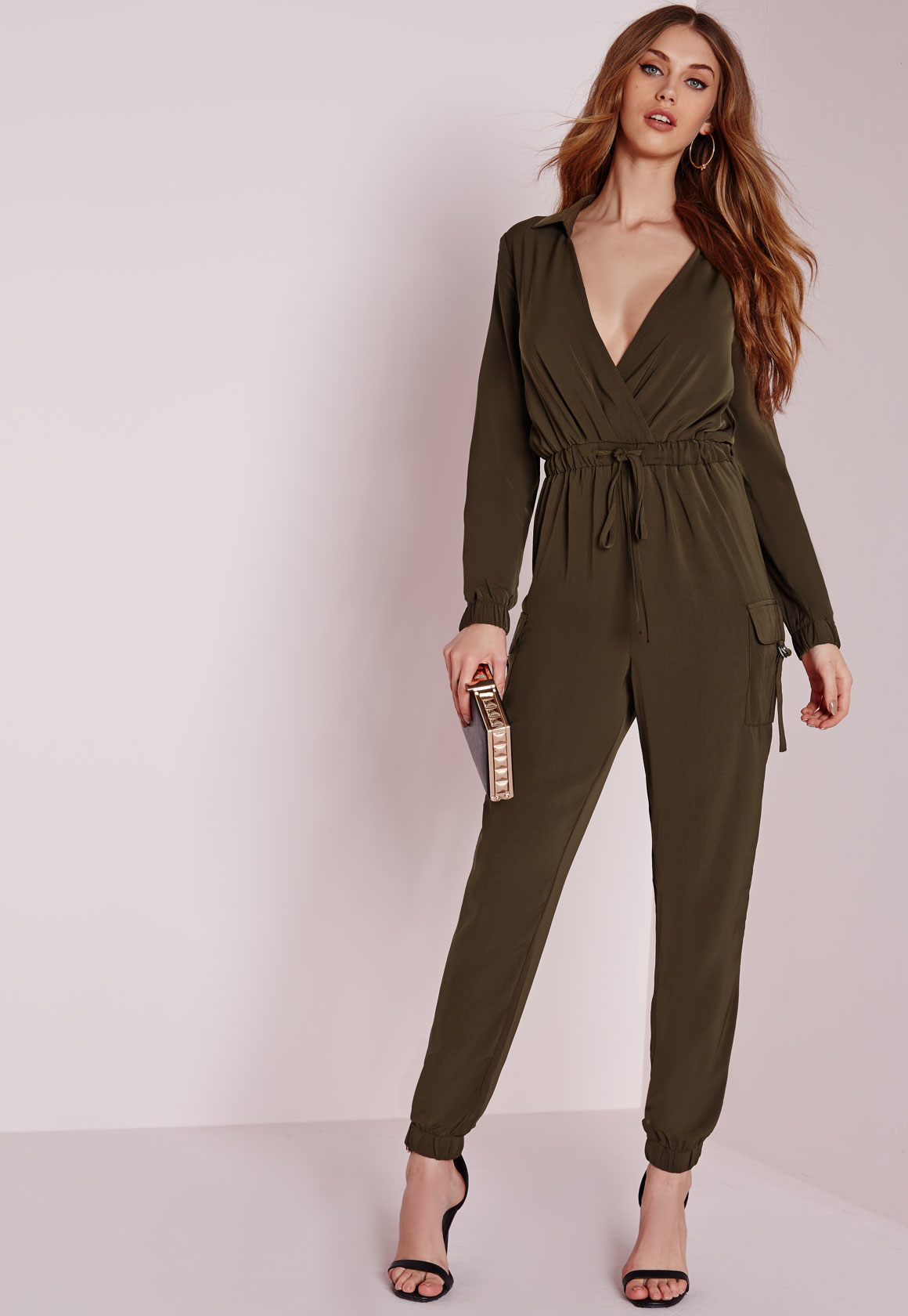 384f4c0949 Lyst - Missguided Long Sleeve Pocket Detail Jumpsuit Khaki in Natural