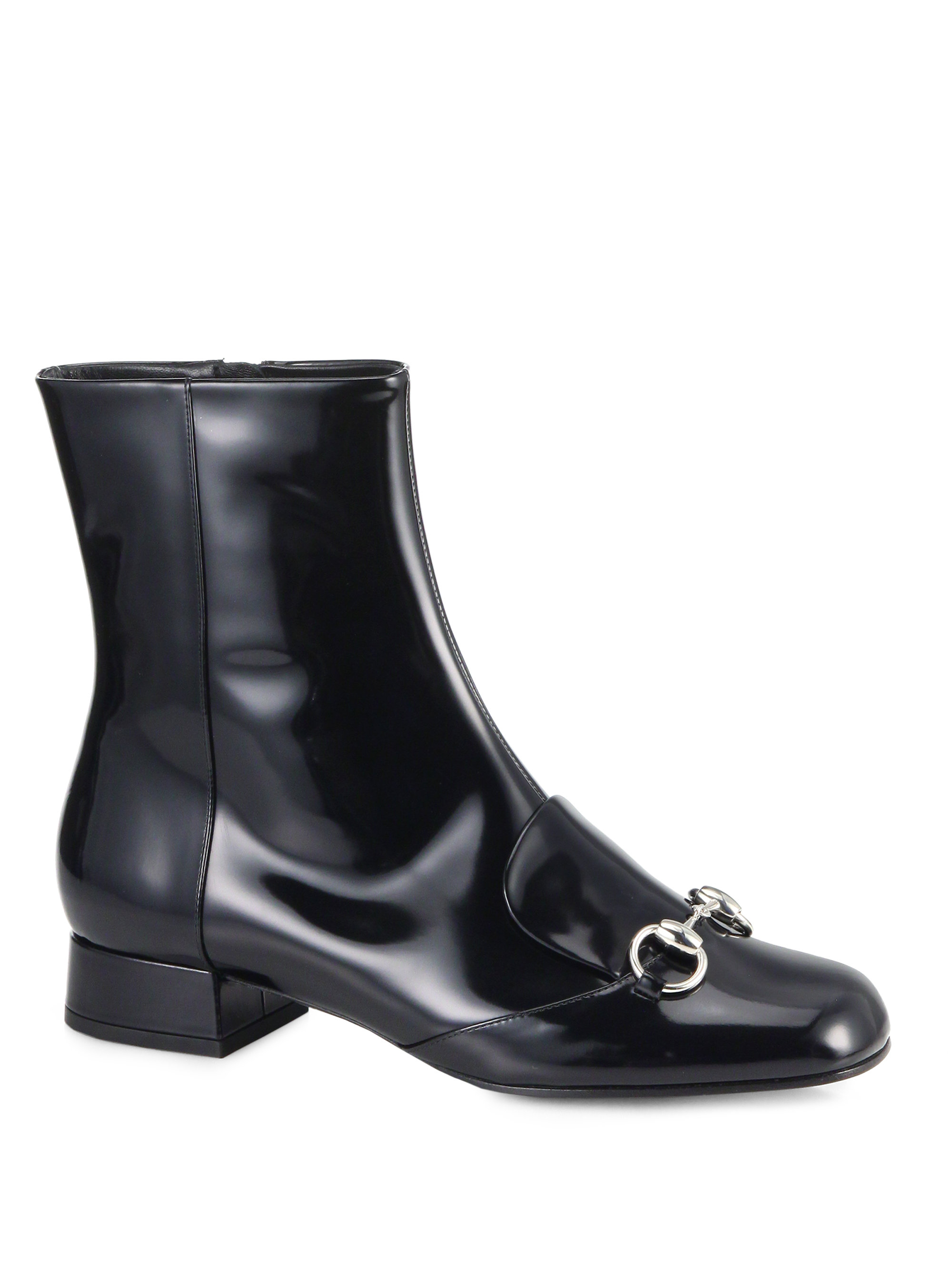 b88370f3c00525 Lyst - Gucci Lillian Horsebit Patent Leather Ankle Boots in Black
