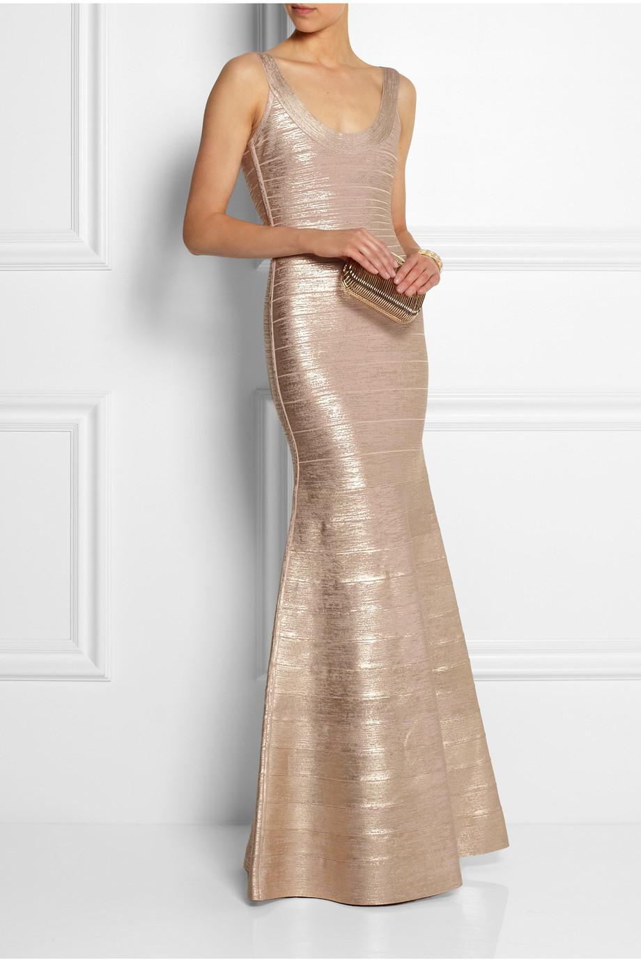 Herv 233 L 233 Ger Ellen Metallic Bandage Gown In Rose Gold Pink Lyst