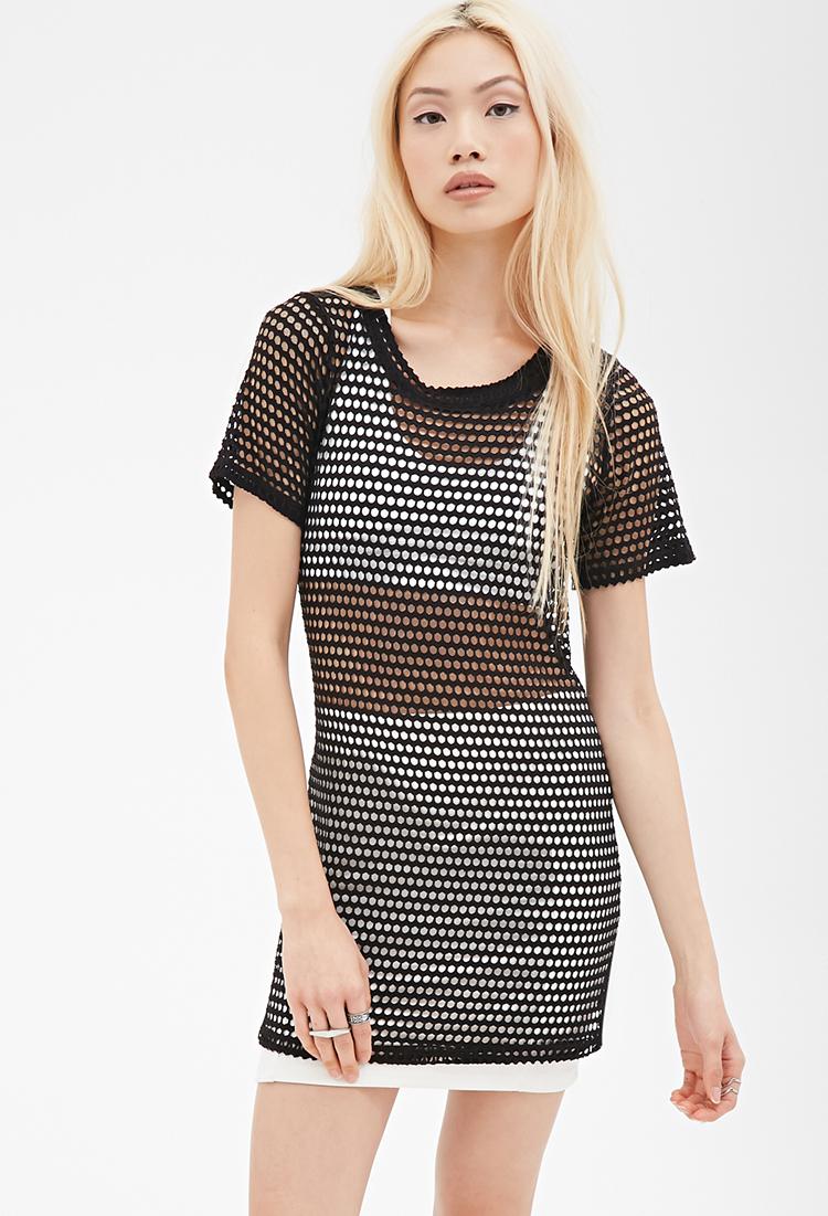 Forever 21 Fishnet T Shirt Dress In Black Lyst