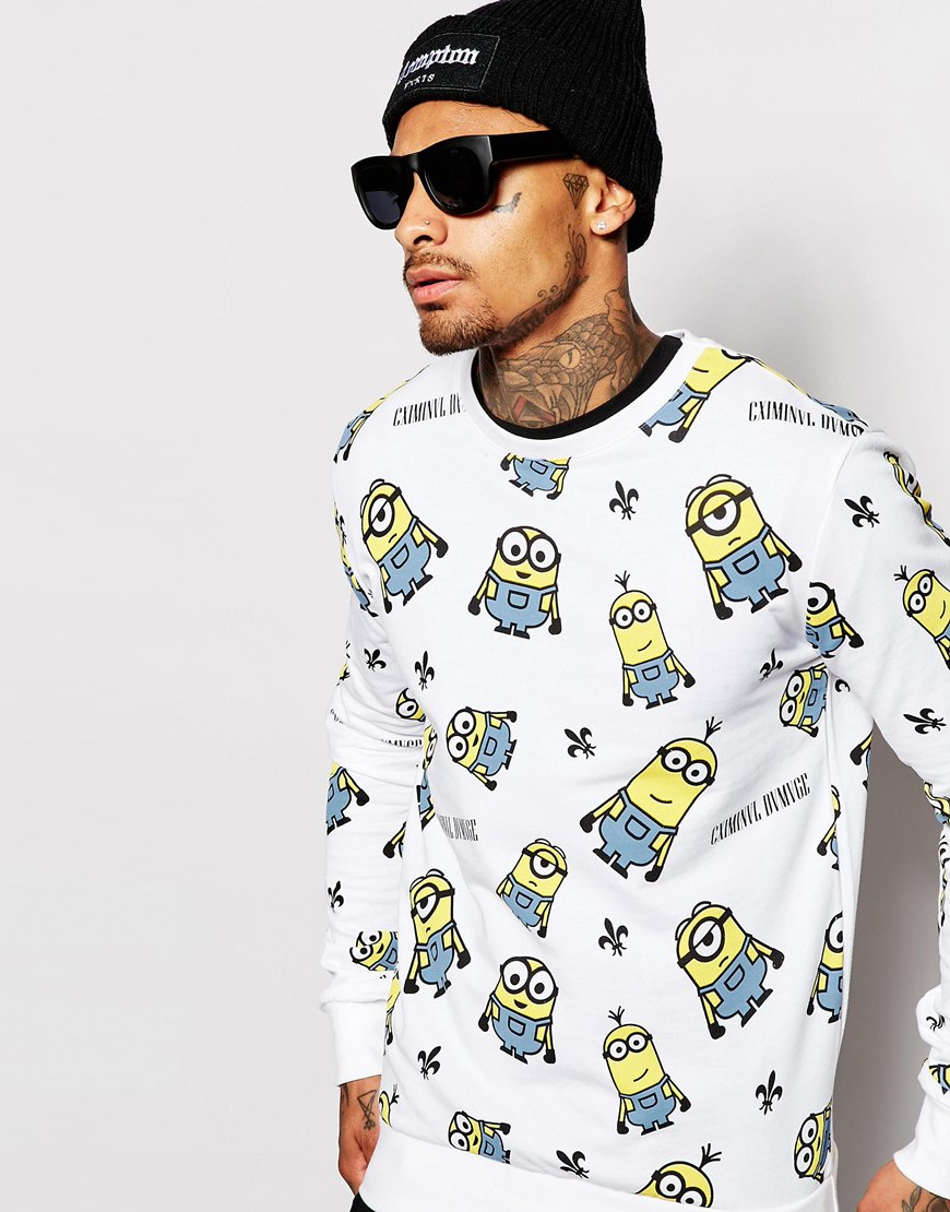 Criminal Damage White X Minions Sweatshirt With All Over Print for men