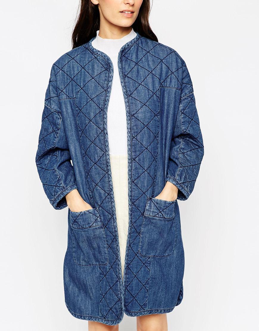 Asos Denim Premium Longline Quilted Jacket In Blue | Lyst
