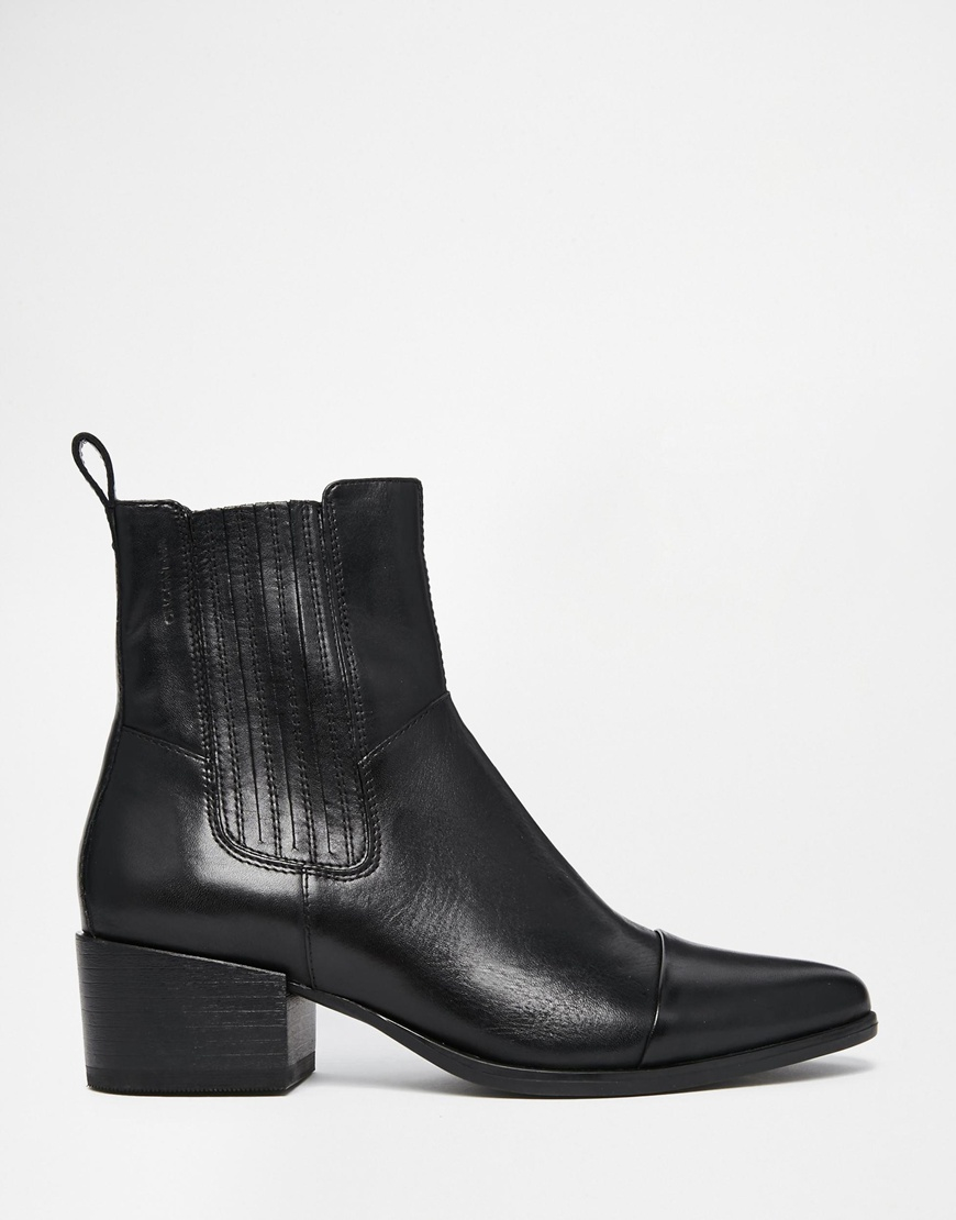 vagabond marja black leather point ankle boots in black lyst