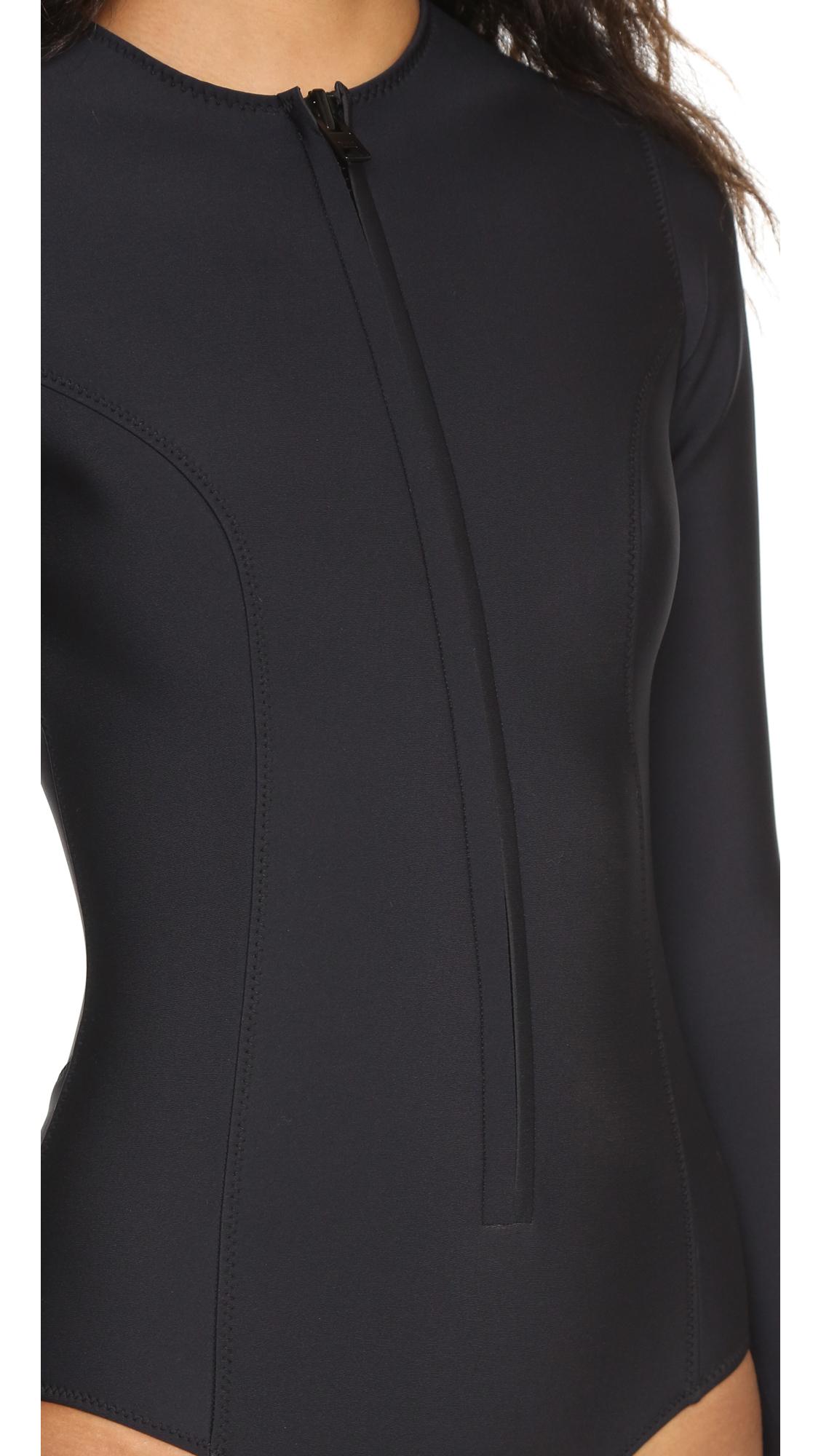 lyst lisa marie fernandez farrah long neoprene maillot in black. Black Bedroom Furniture Sets. Home Design Ideas