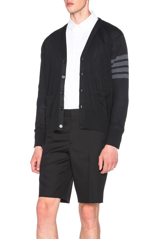 Thom browne Men's Classic V Neck Cardigan in Black | Lyst