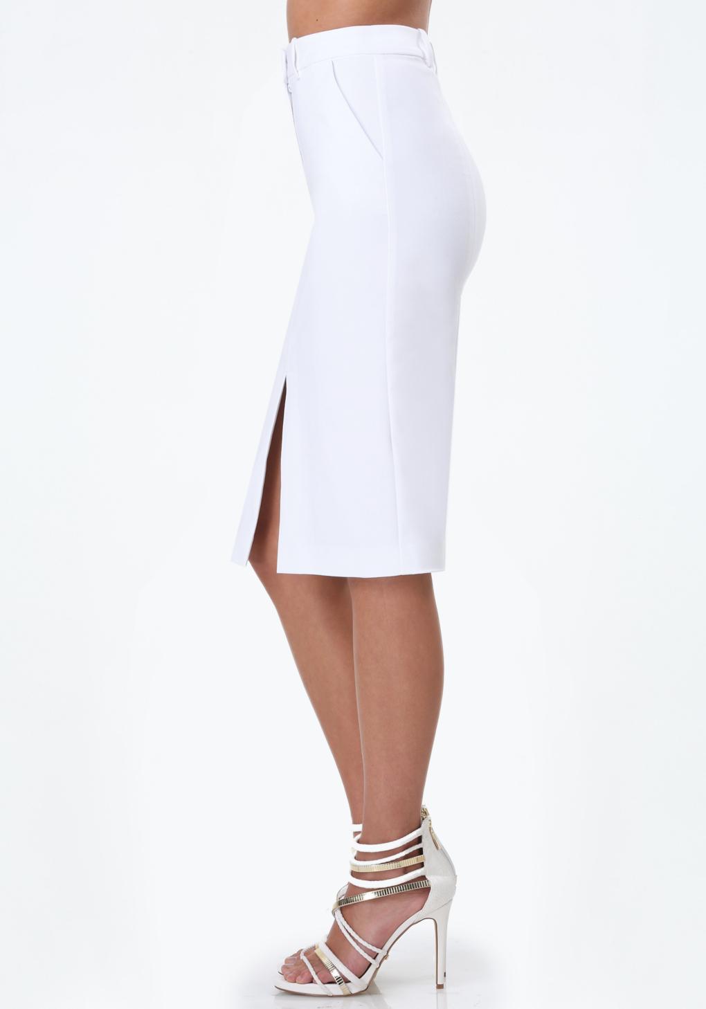 bebe front slit pencil skirt in white lyst